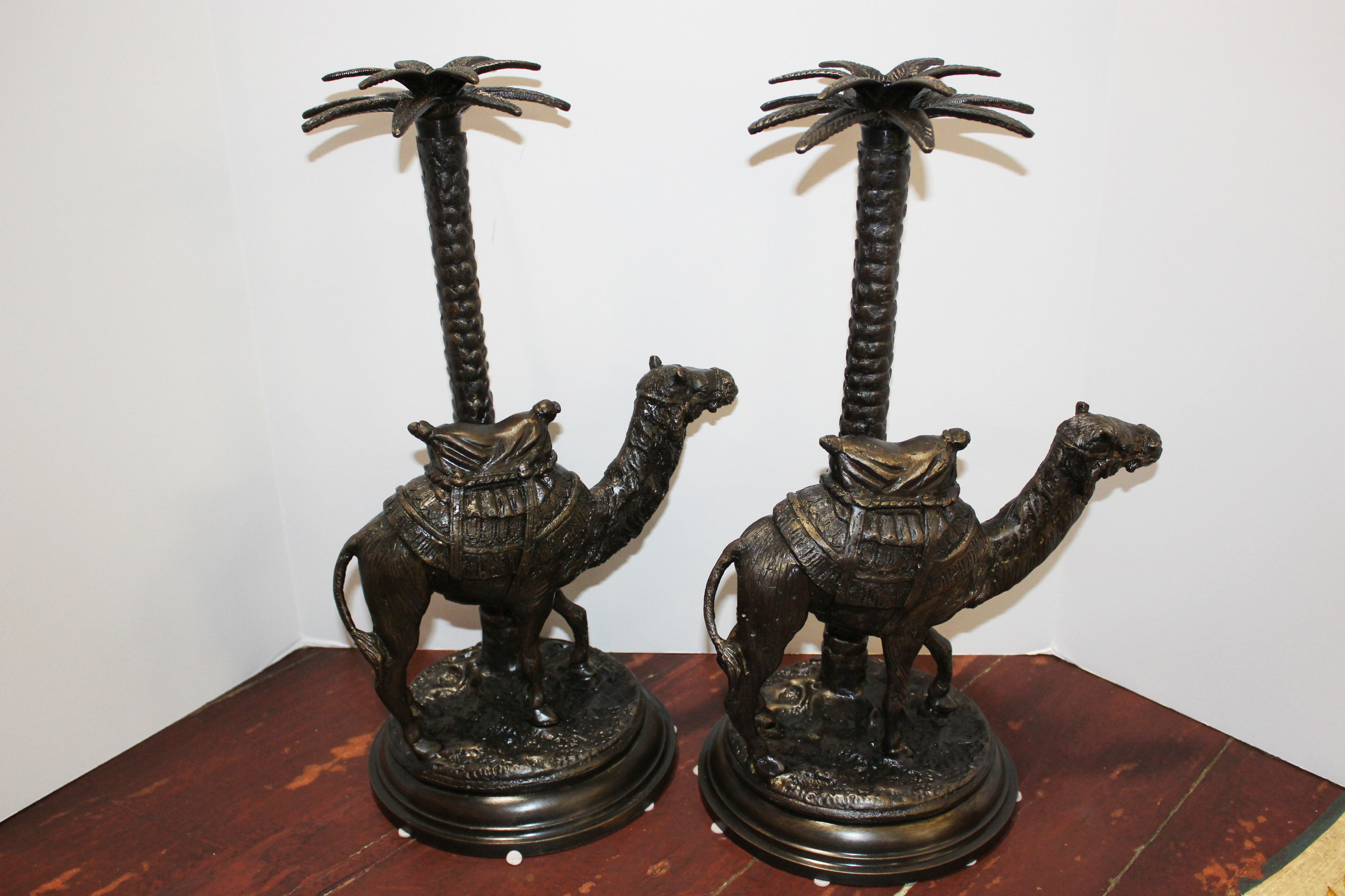 Maitland Smith Pair of Bronze Camel Candleholders