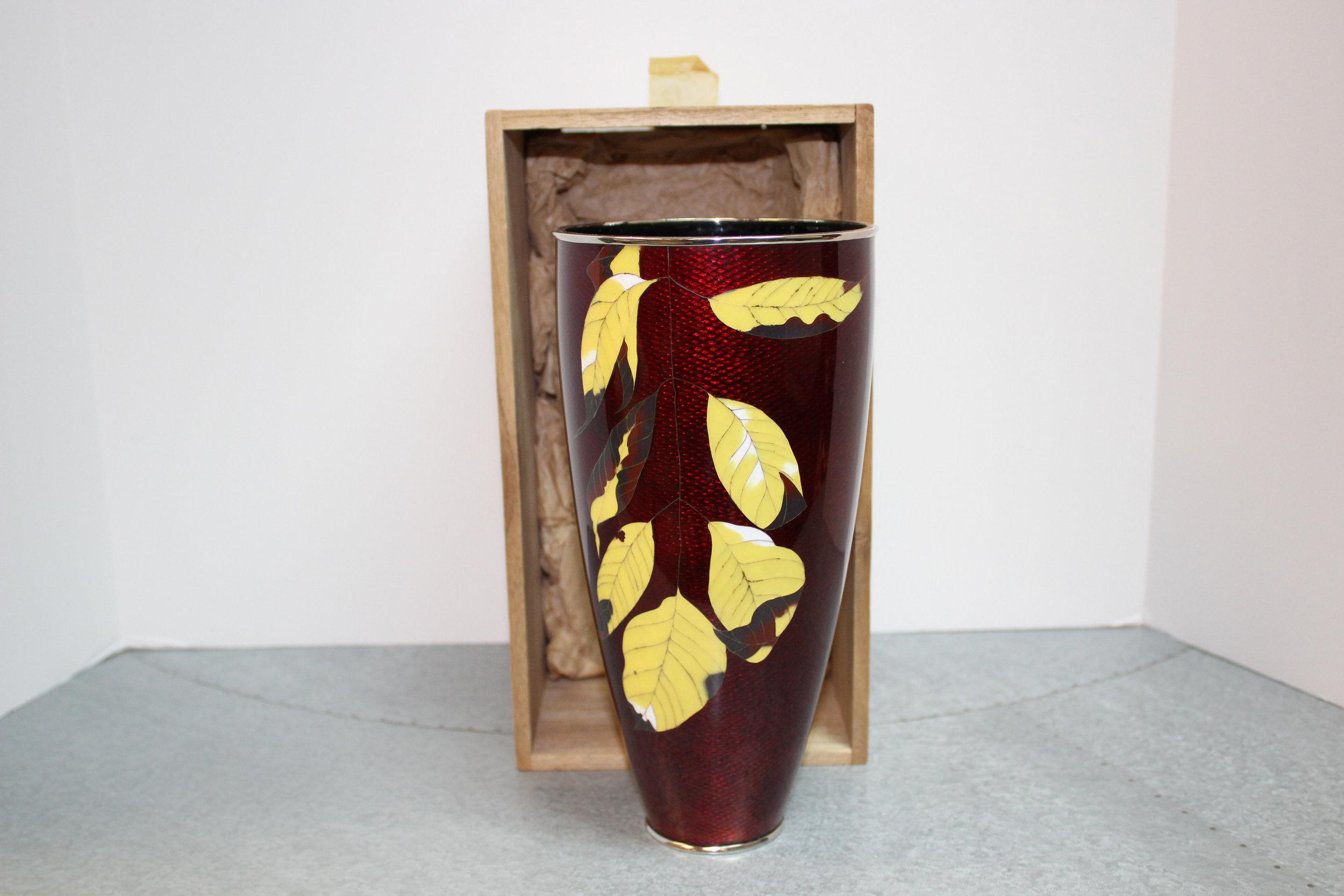 Japanese Red Cloisonne Leaf Vase