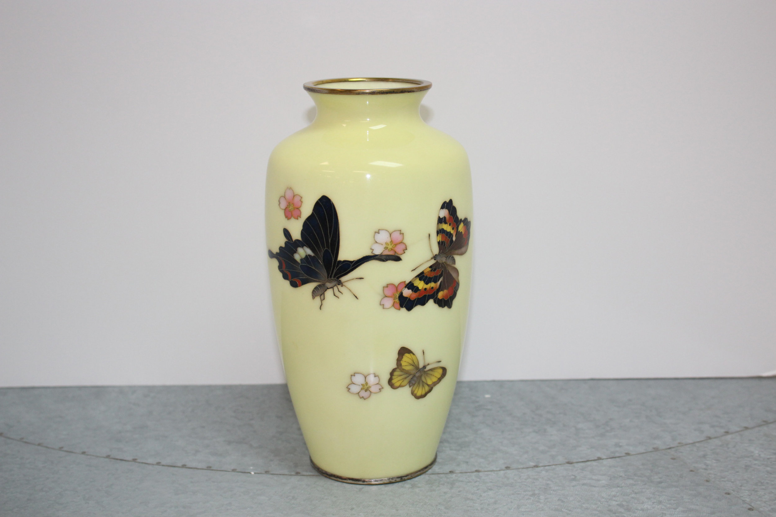 Japanese Butterfly Cloisonne Vase