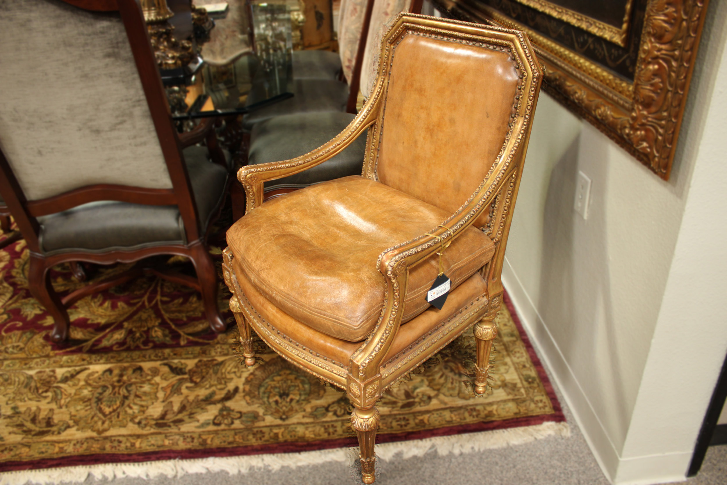 Carved Gold Leather Arm Chair