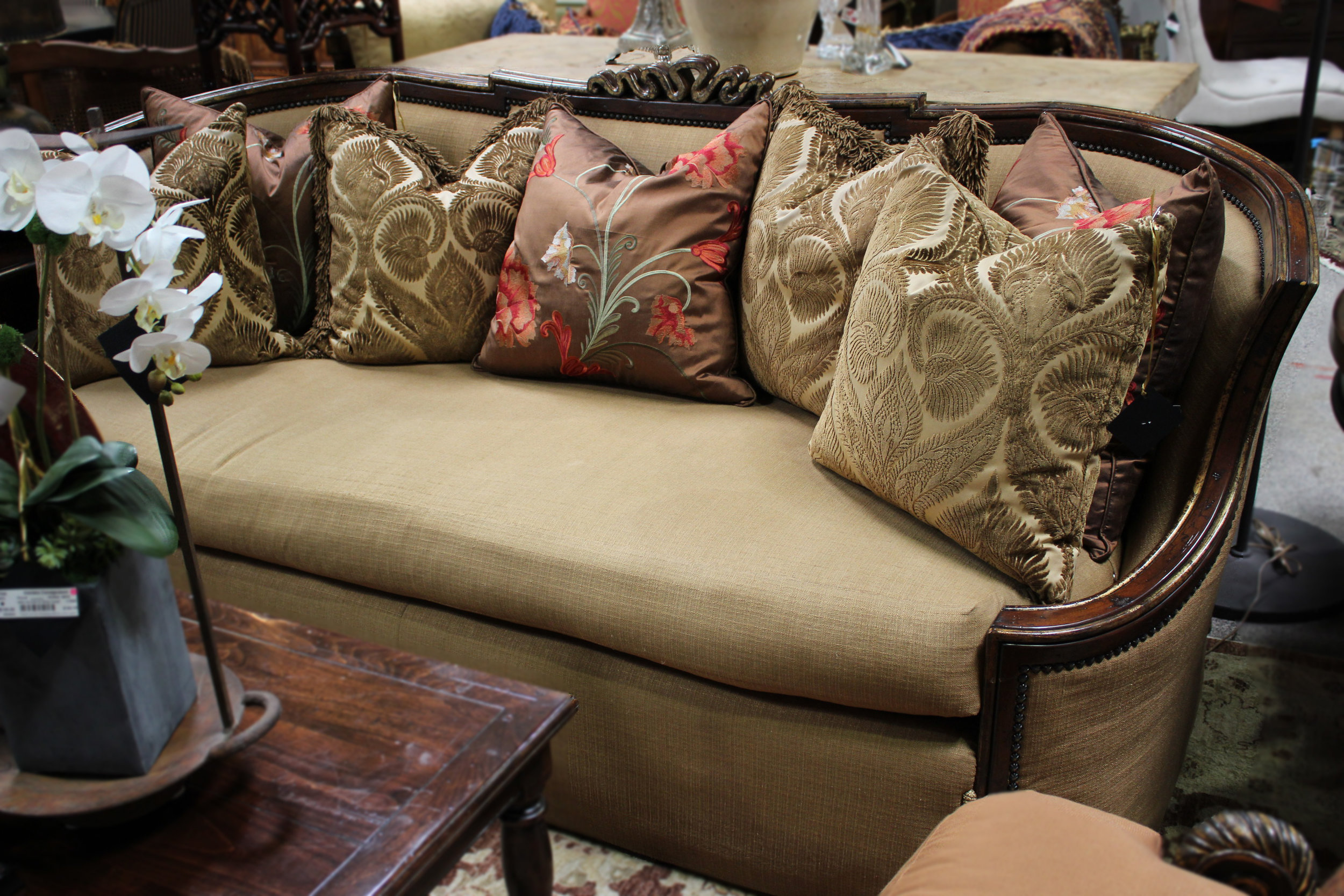 Marge Carson Curved Back Brown Sofa with 4 Pillows