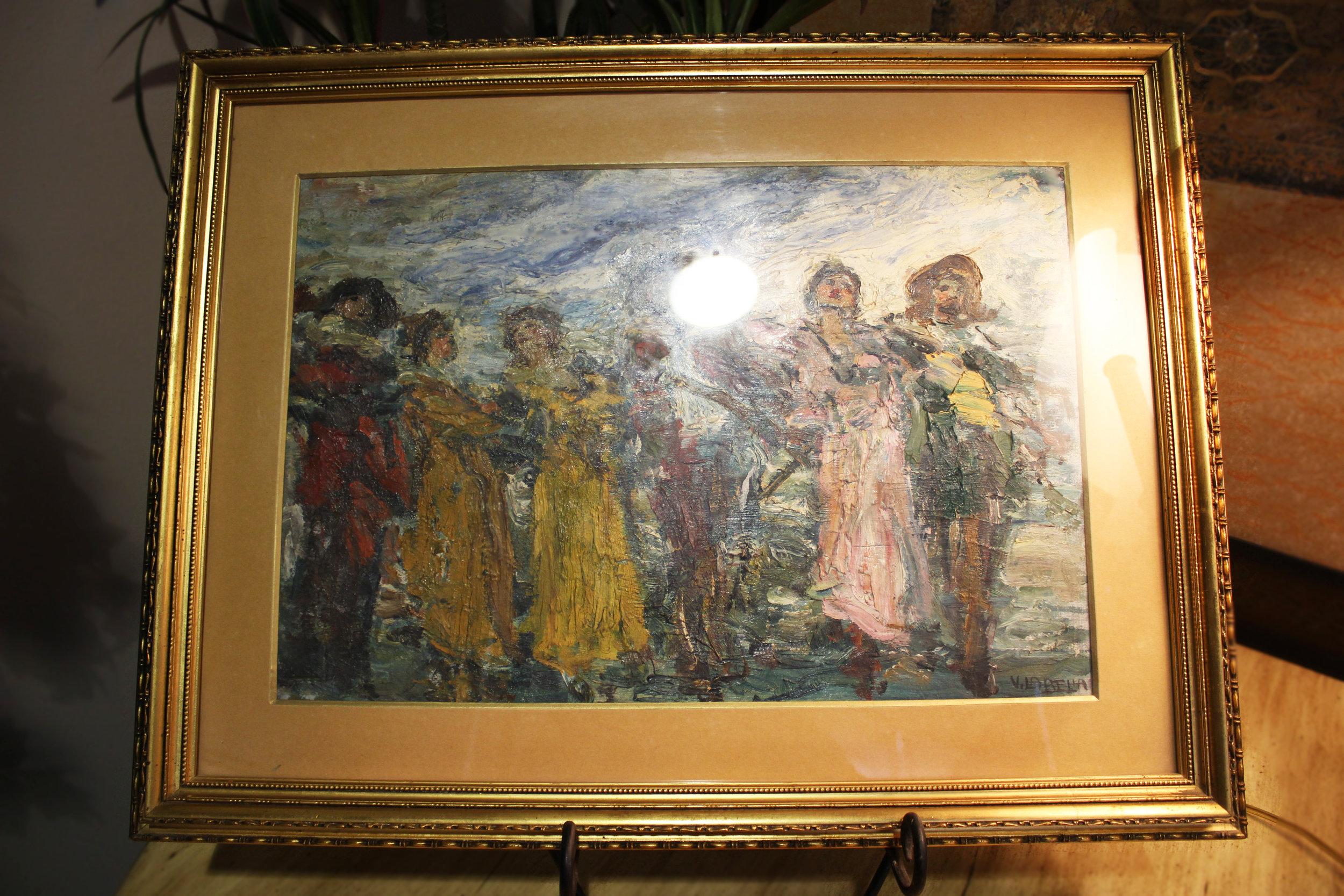 Original Oil Impression Gaiety Vincenzo La Bella Naples 1872-1954