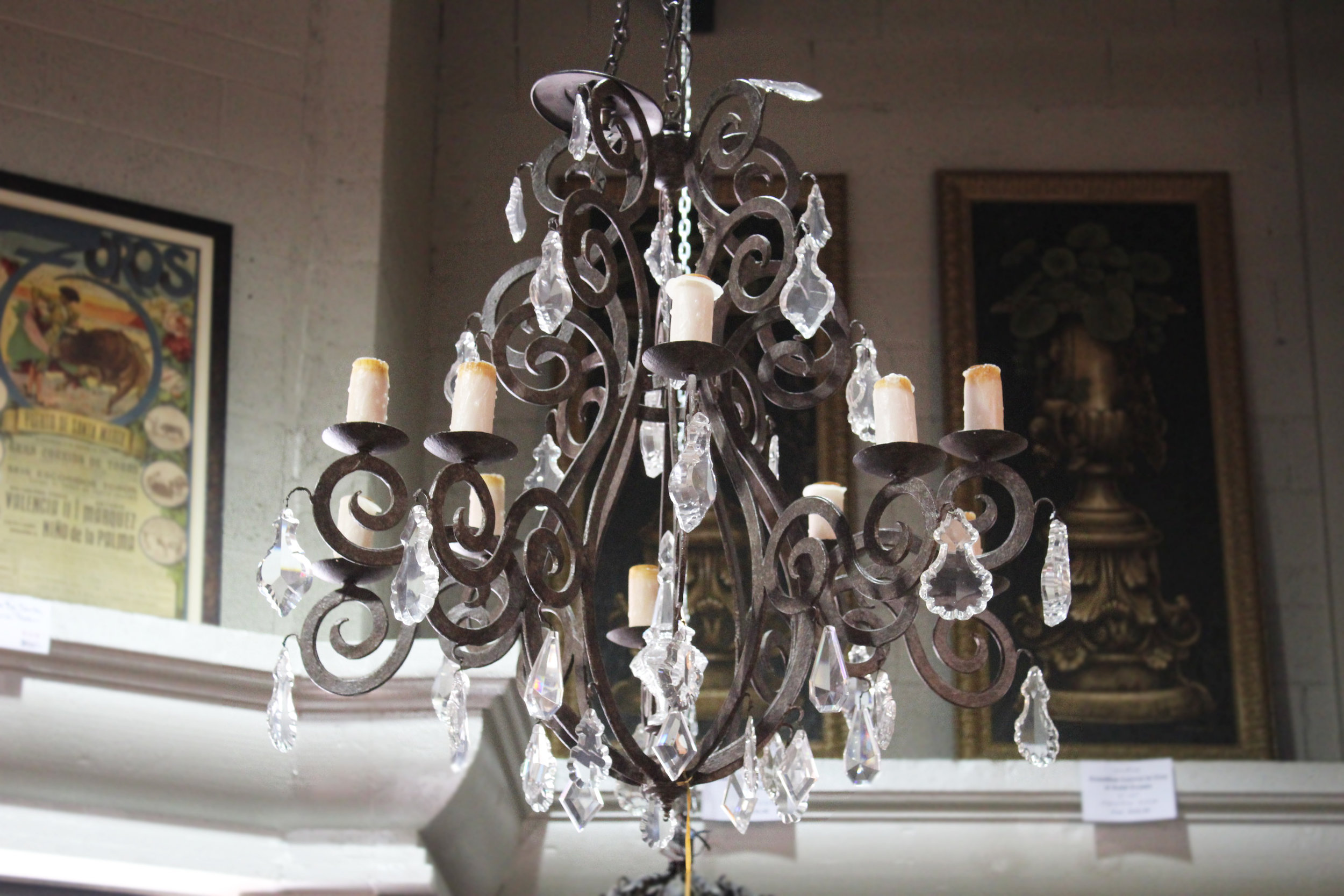 Iron Crystal 10 Light Chandelier