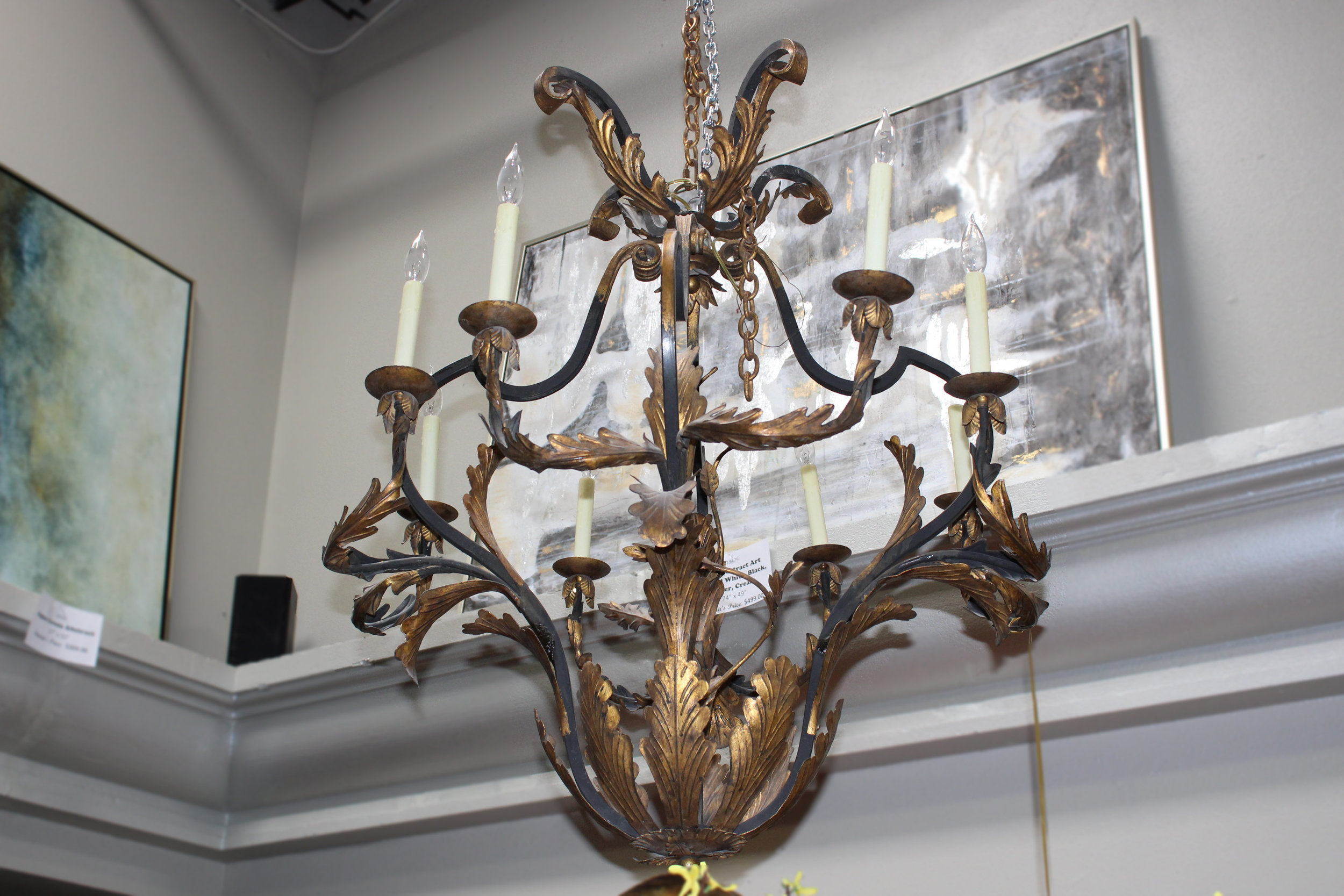 Pair of 8 Light Iron Chandeliers with Gold Accents