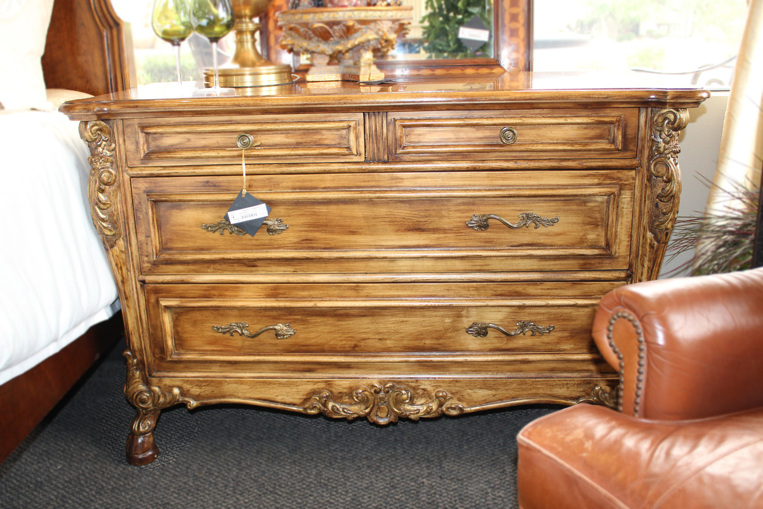 2 Drawer Crackle Finish Nightstand