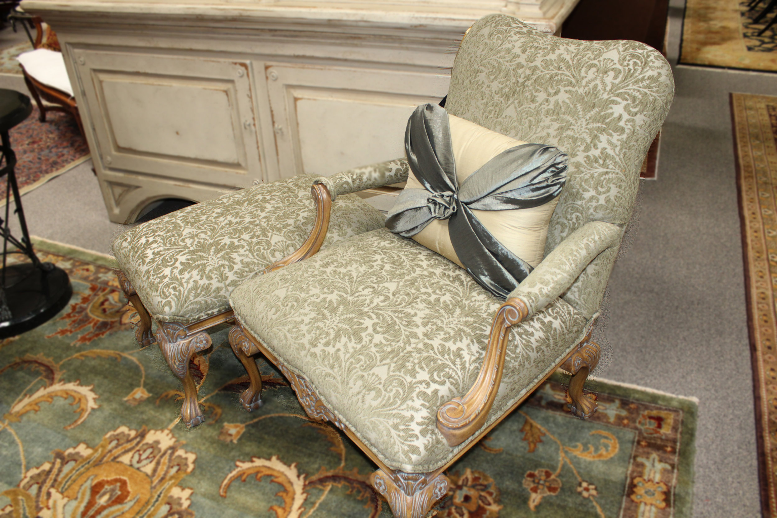Green Patterned Chair Ottoman