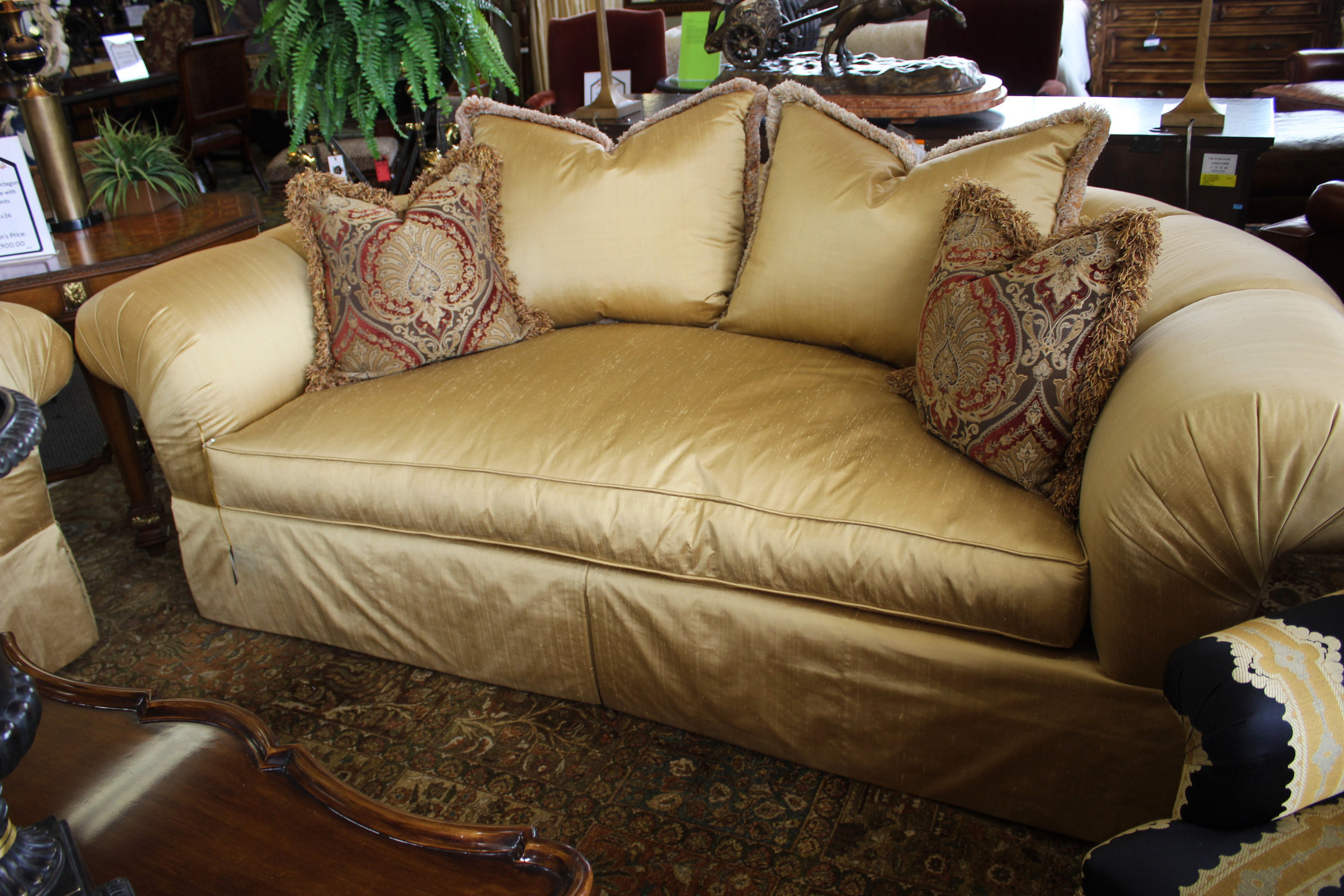 Marge Carson Pair Gold Satin Rolled Back Sofa