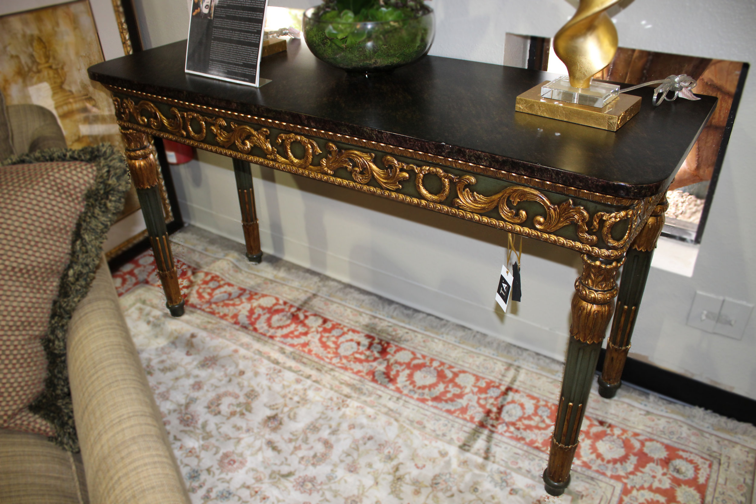 Theodore Alexander Faux Marble Top Console Green Base