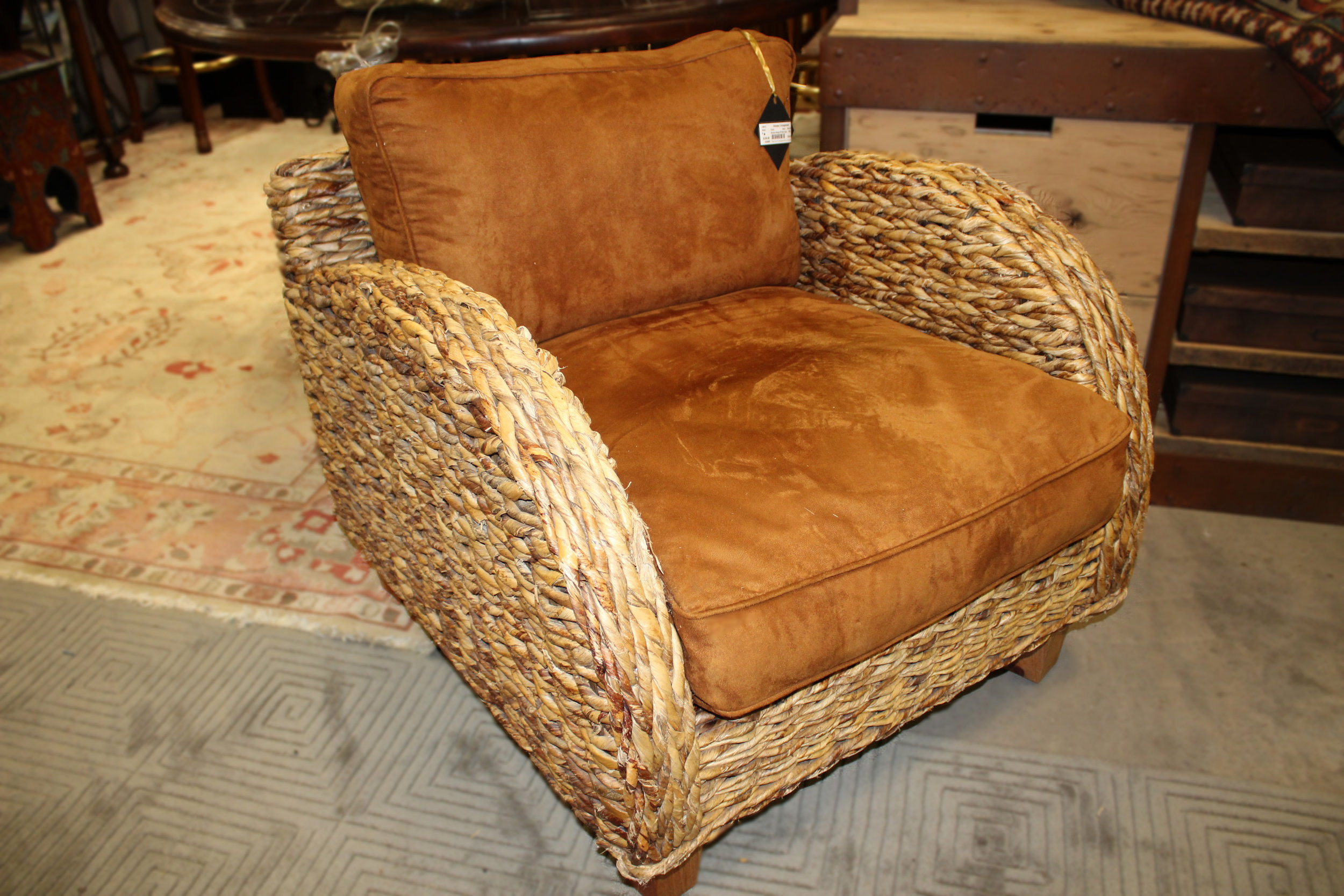 Woven Chair with Rust Suede