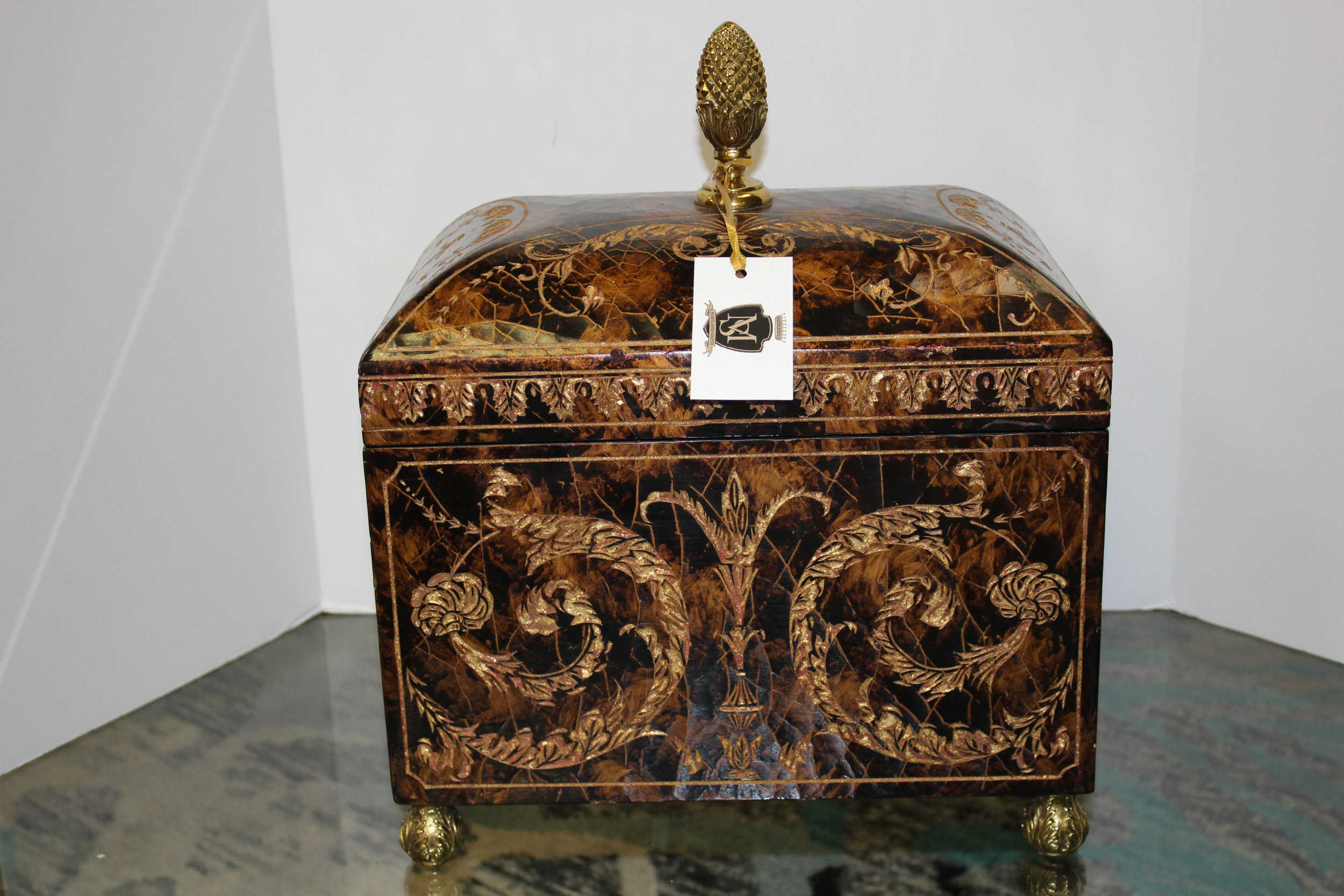 Maitland Smith Tall Carved Copper Box