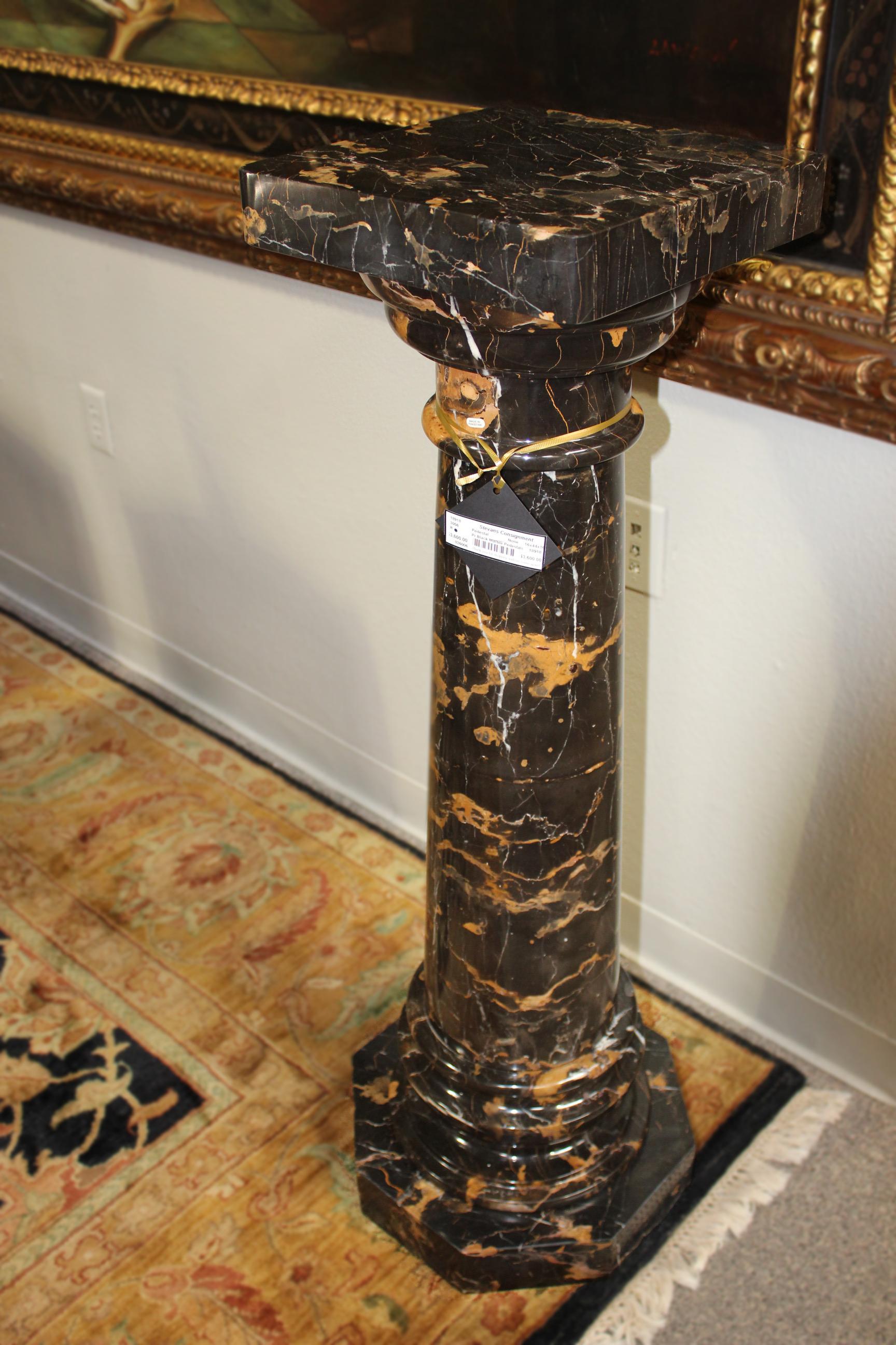 Pair of Black Marble Pedestals