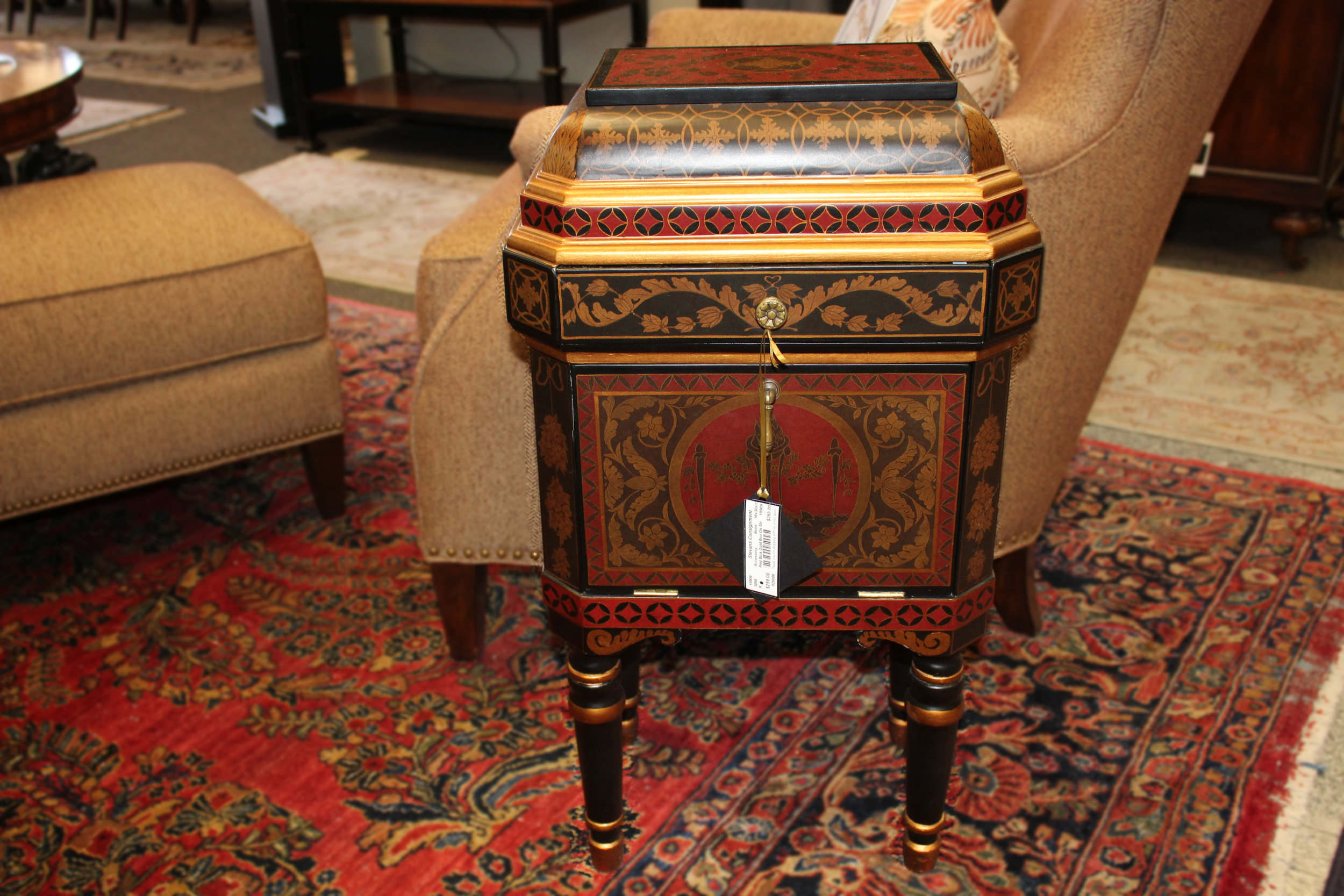 Red Black and Gold Box on Stand