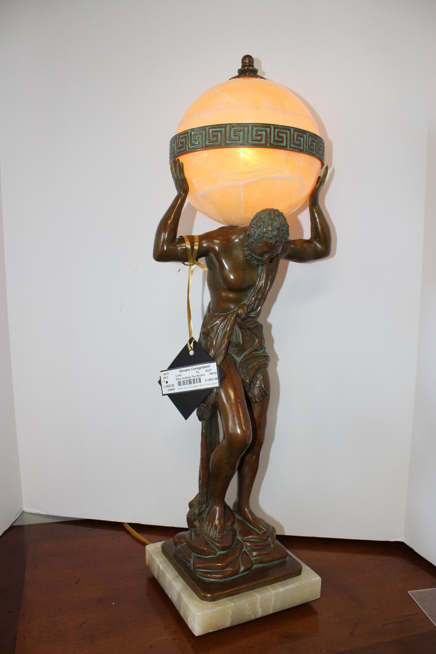 Theodore Alexander Atlas Holding the World Lamp