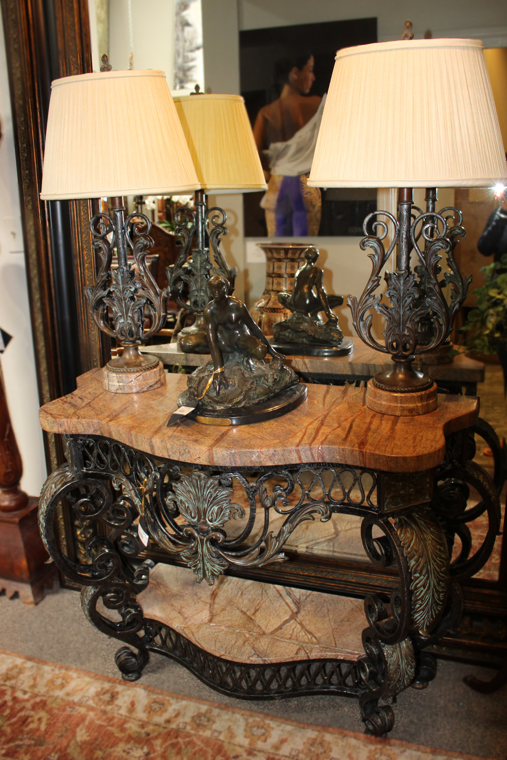 Theodore Alexander Iron Marble Ornate Console