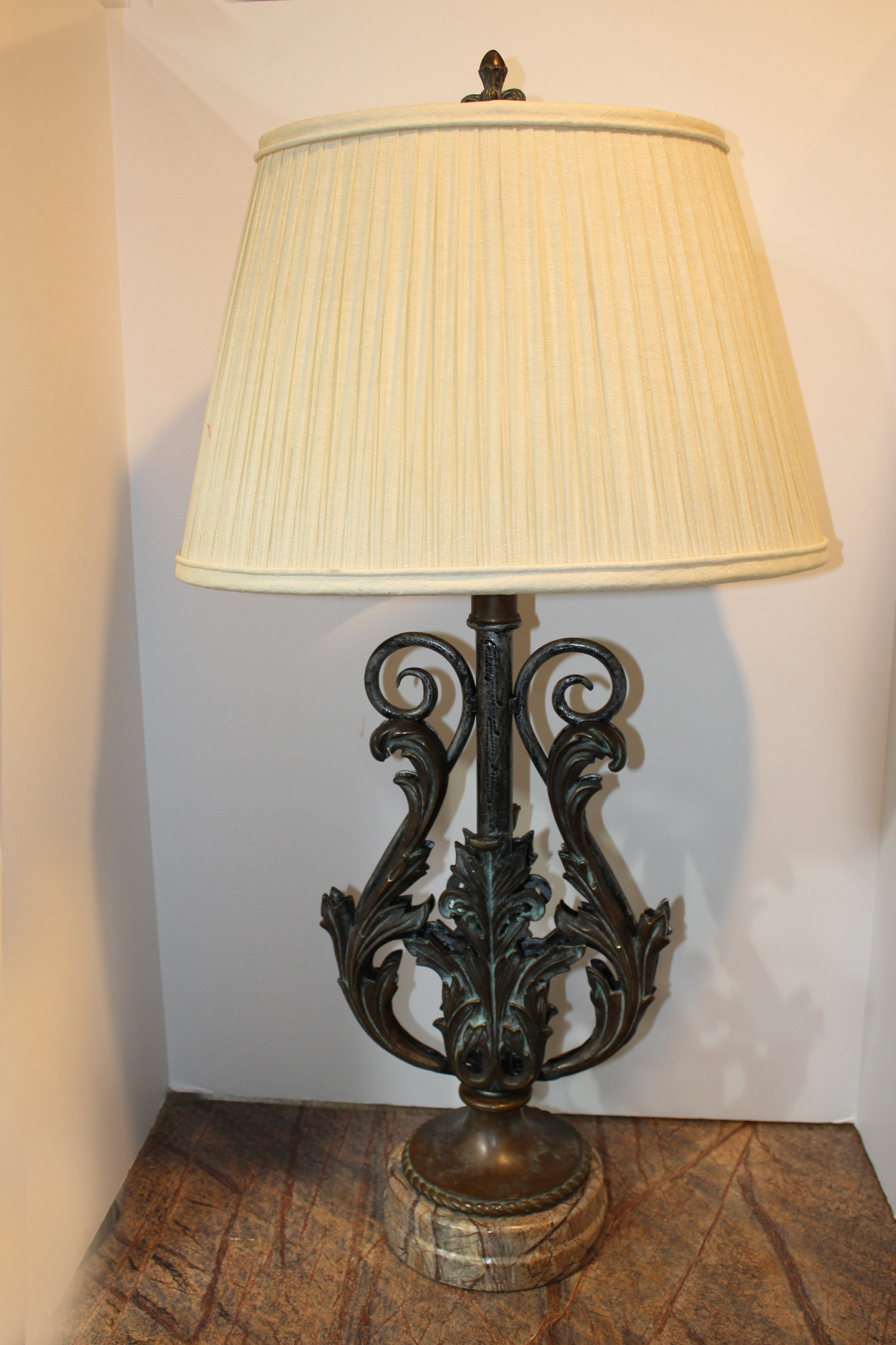 Theodore Alexander Pair of Bronze Marble Lamps