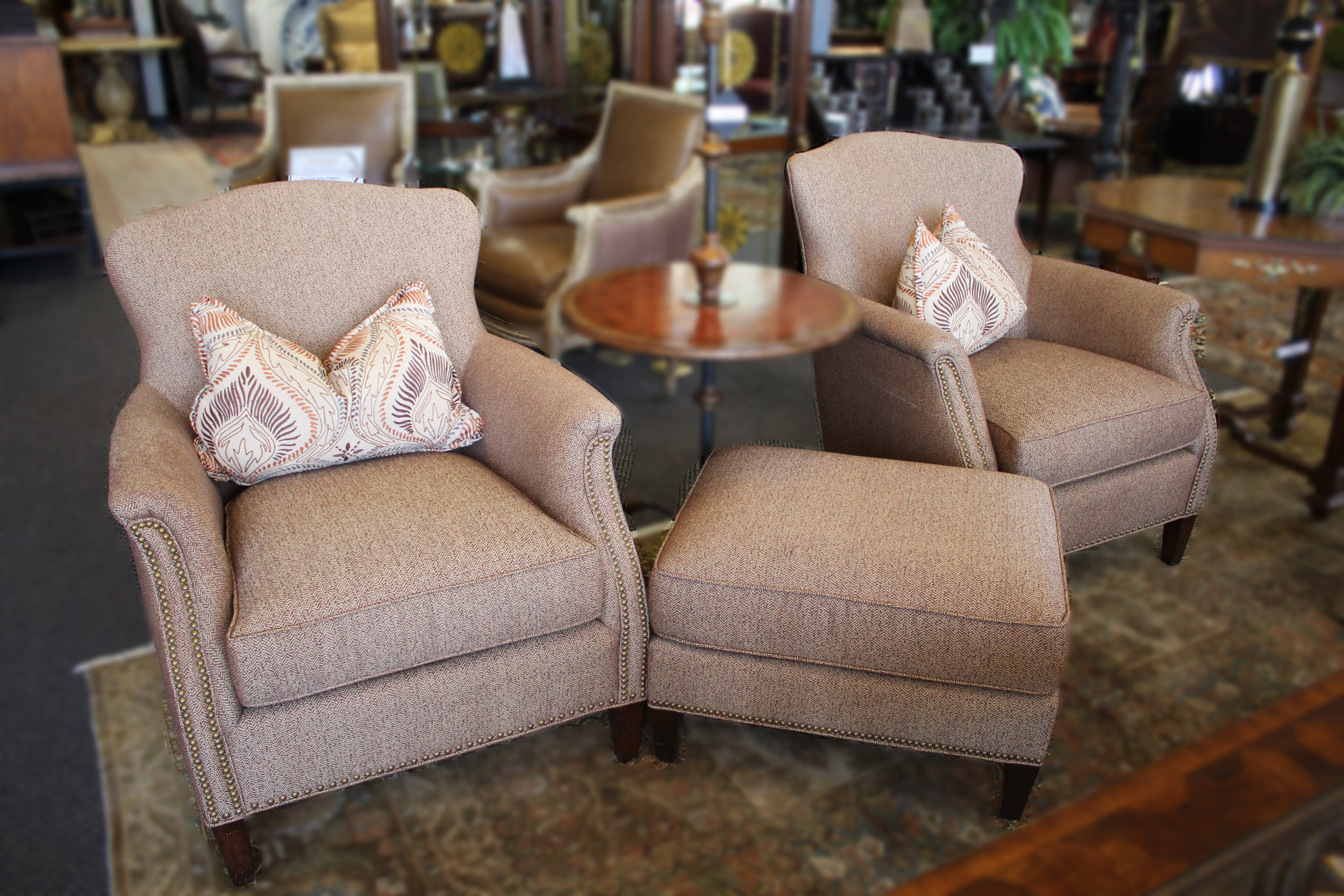 Taylor King Pair of Herringbone Chairs with Ottomans