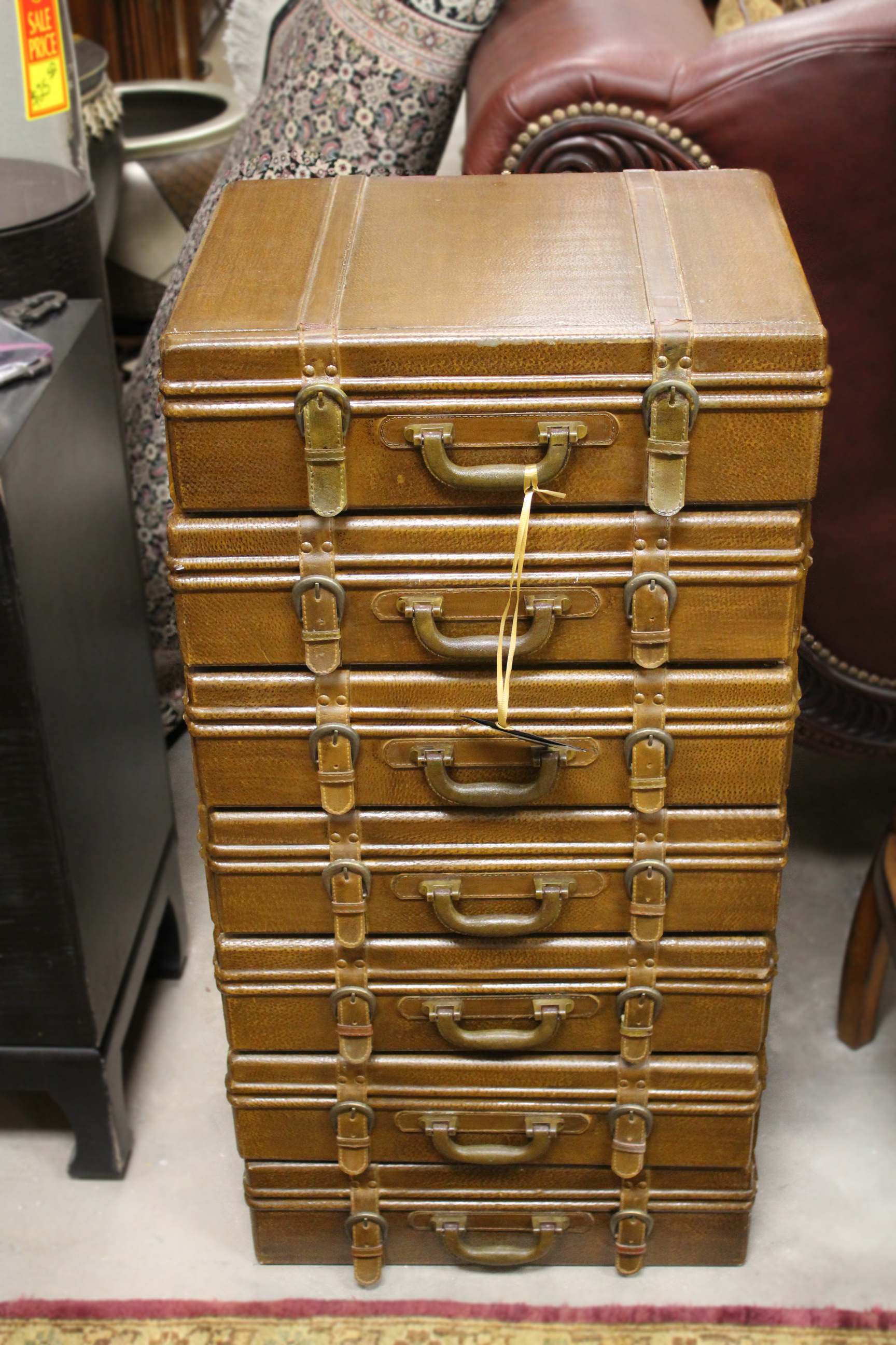 7 Drawer Leather Suitcase Chest