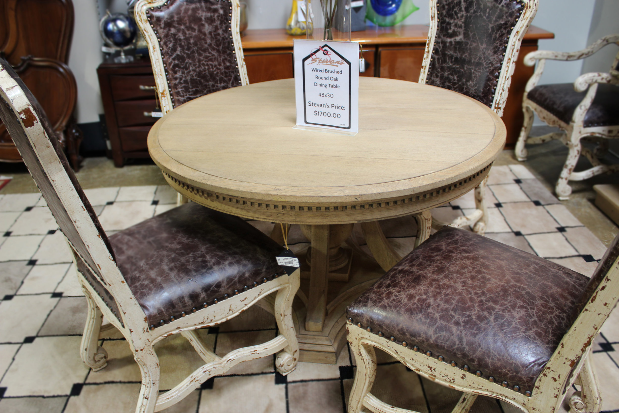 Wired Brushed Round Oak Dining Table