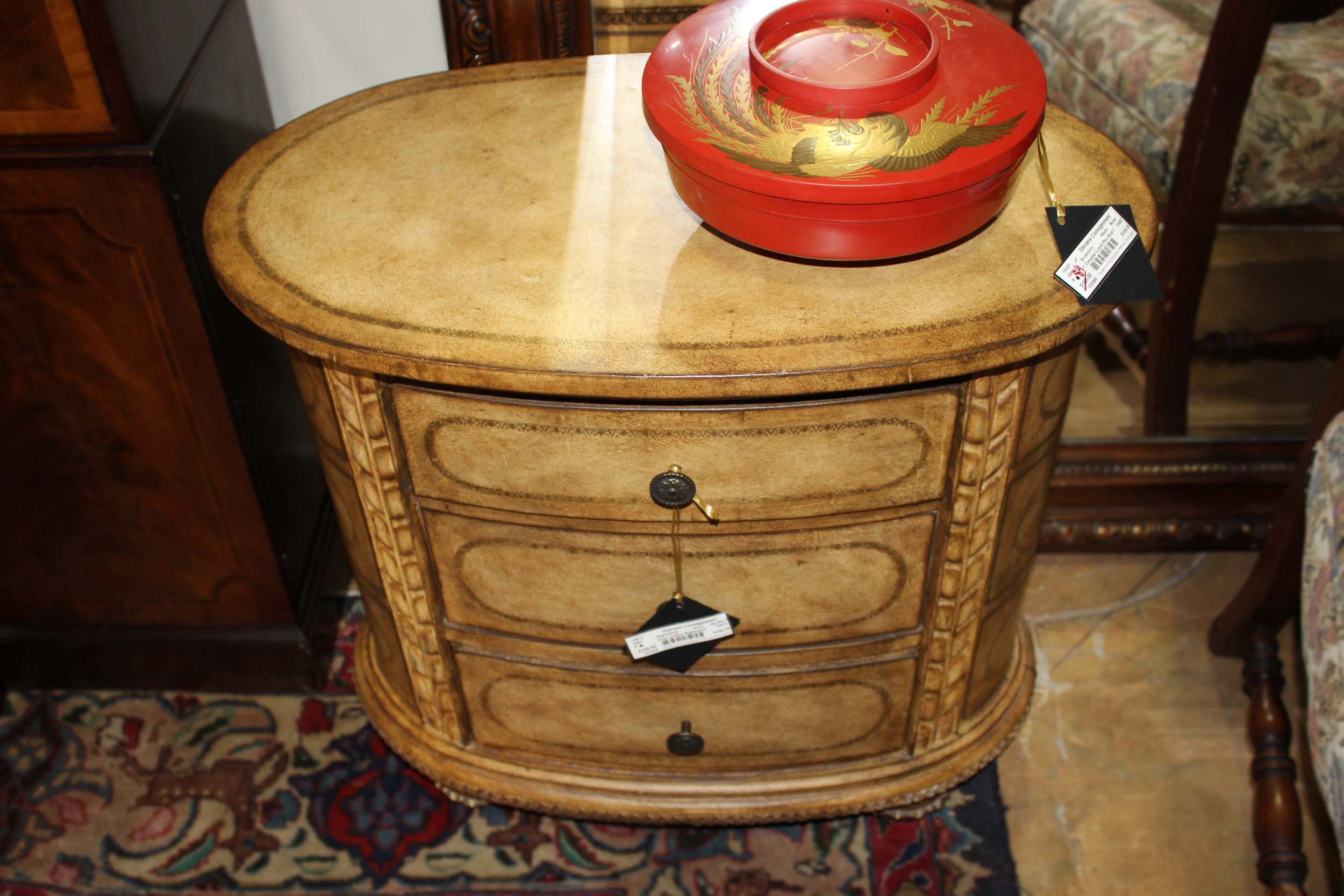 Oval Leather Nightstand