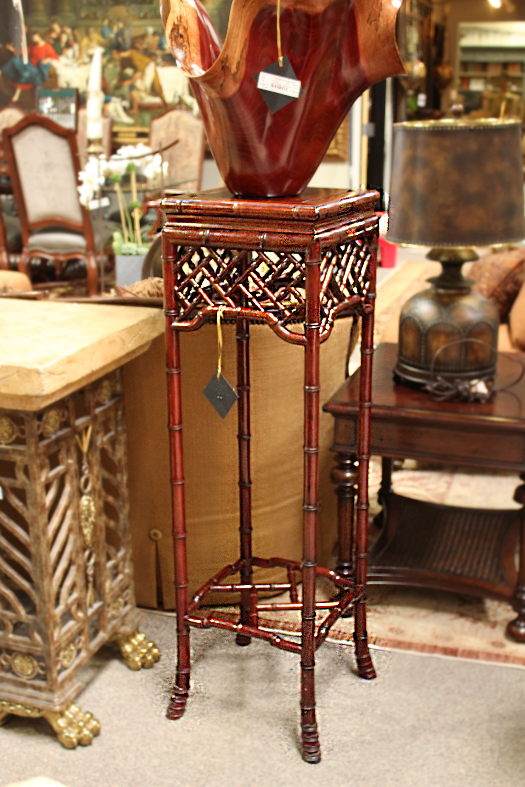 Rosewood Chinoiserie Pedestal