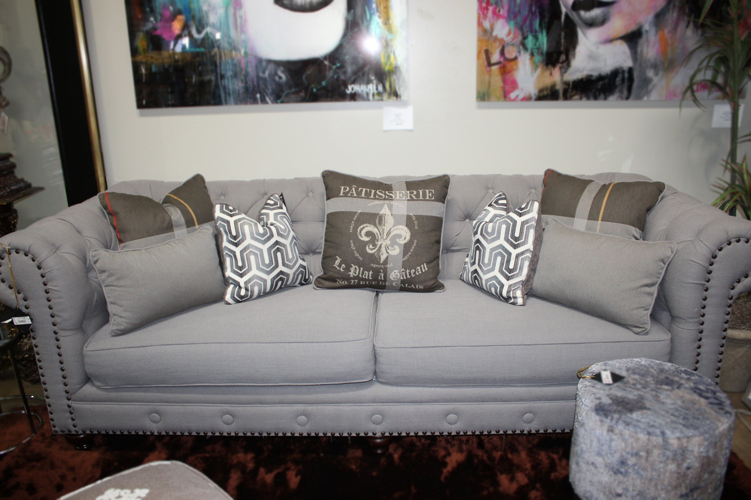 Tufted Grey Sofa with Nailheads