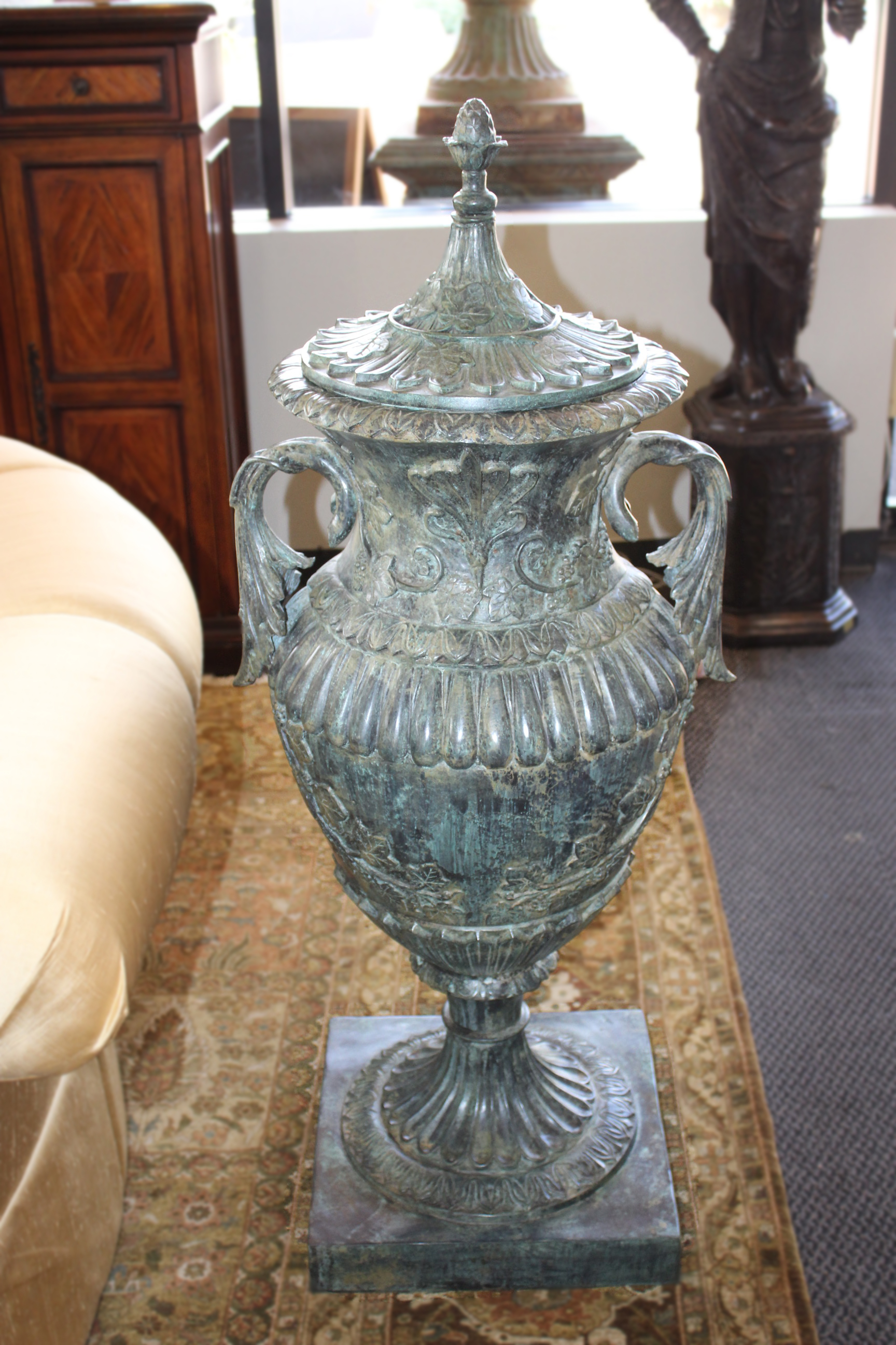 Pair of XL Bronze Urns with Lids