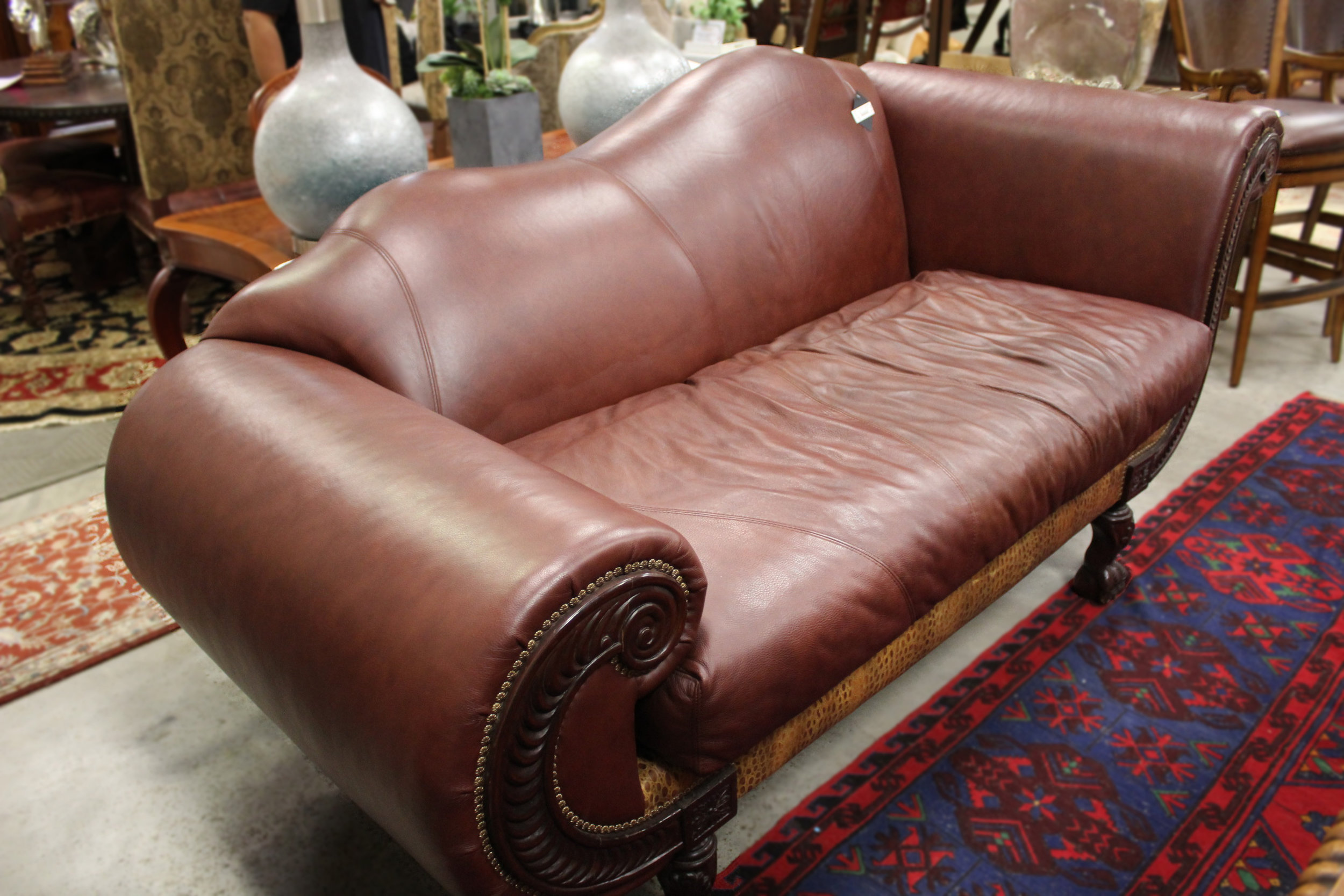 Maroon Leather Ball & Claw Feet Chaise