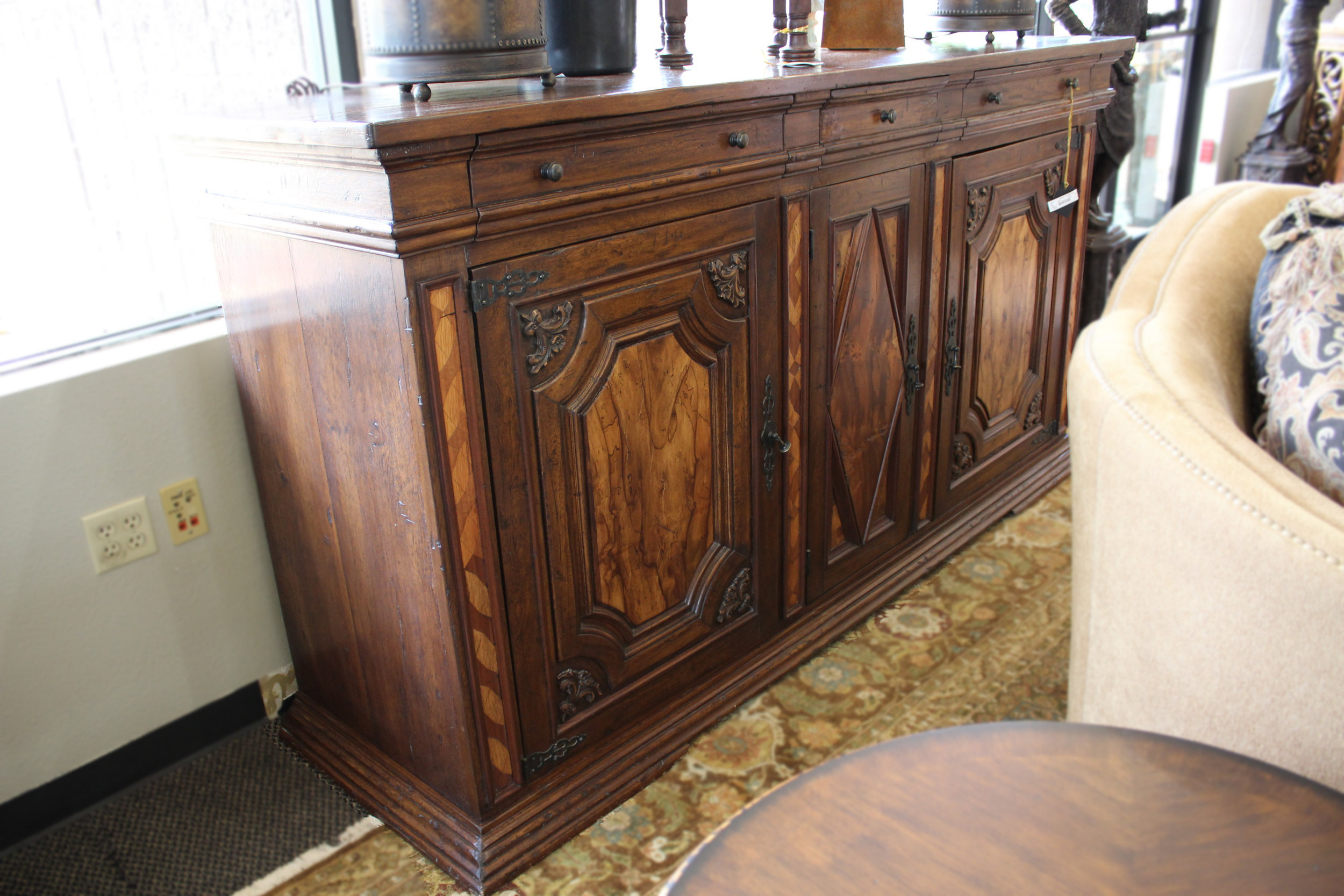 Rustic Inlay Carved Buffet