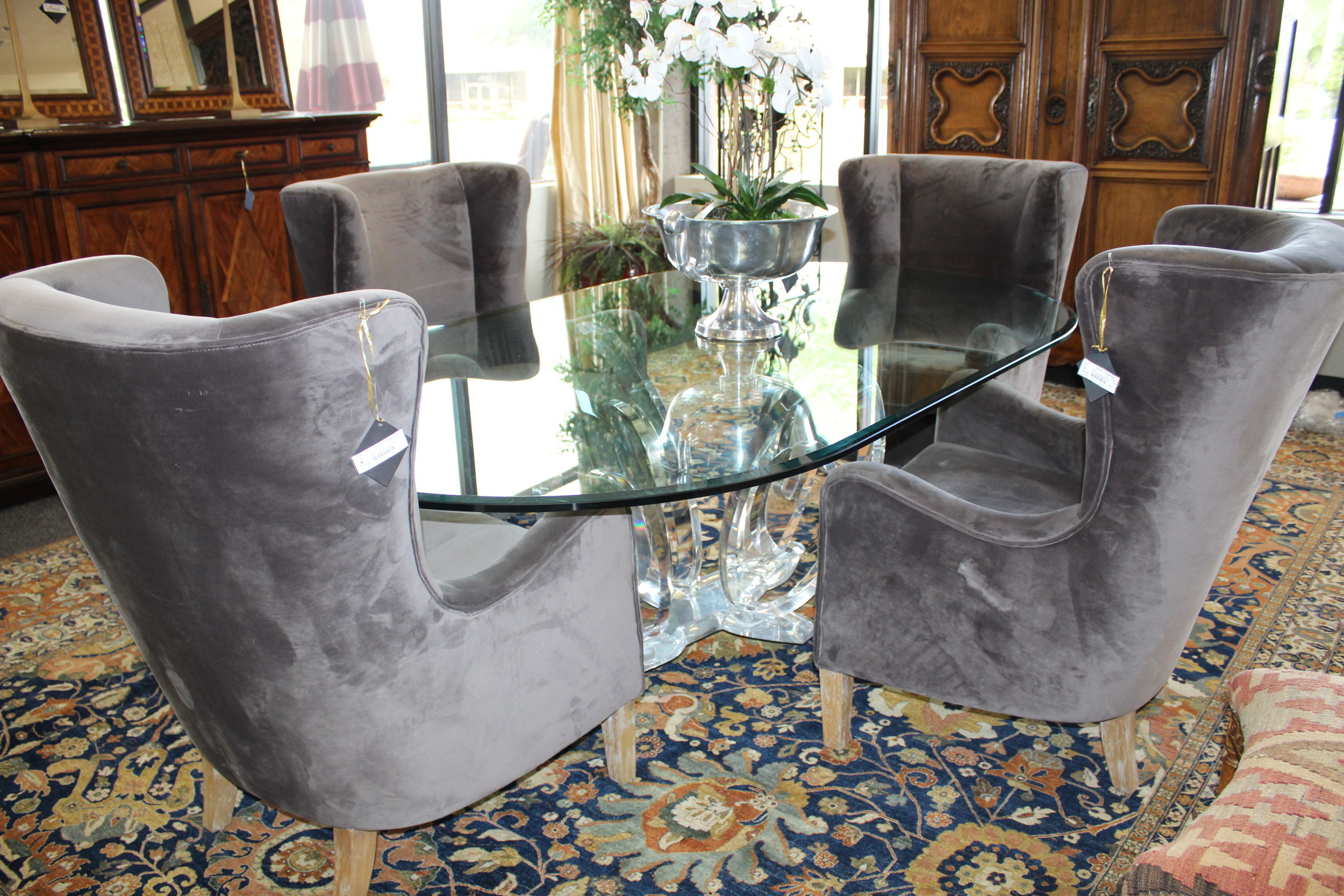 Recollection From the Future Dining Table by Mikhail Loznikov & Set of 4 Smoked Wingback Chairs