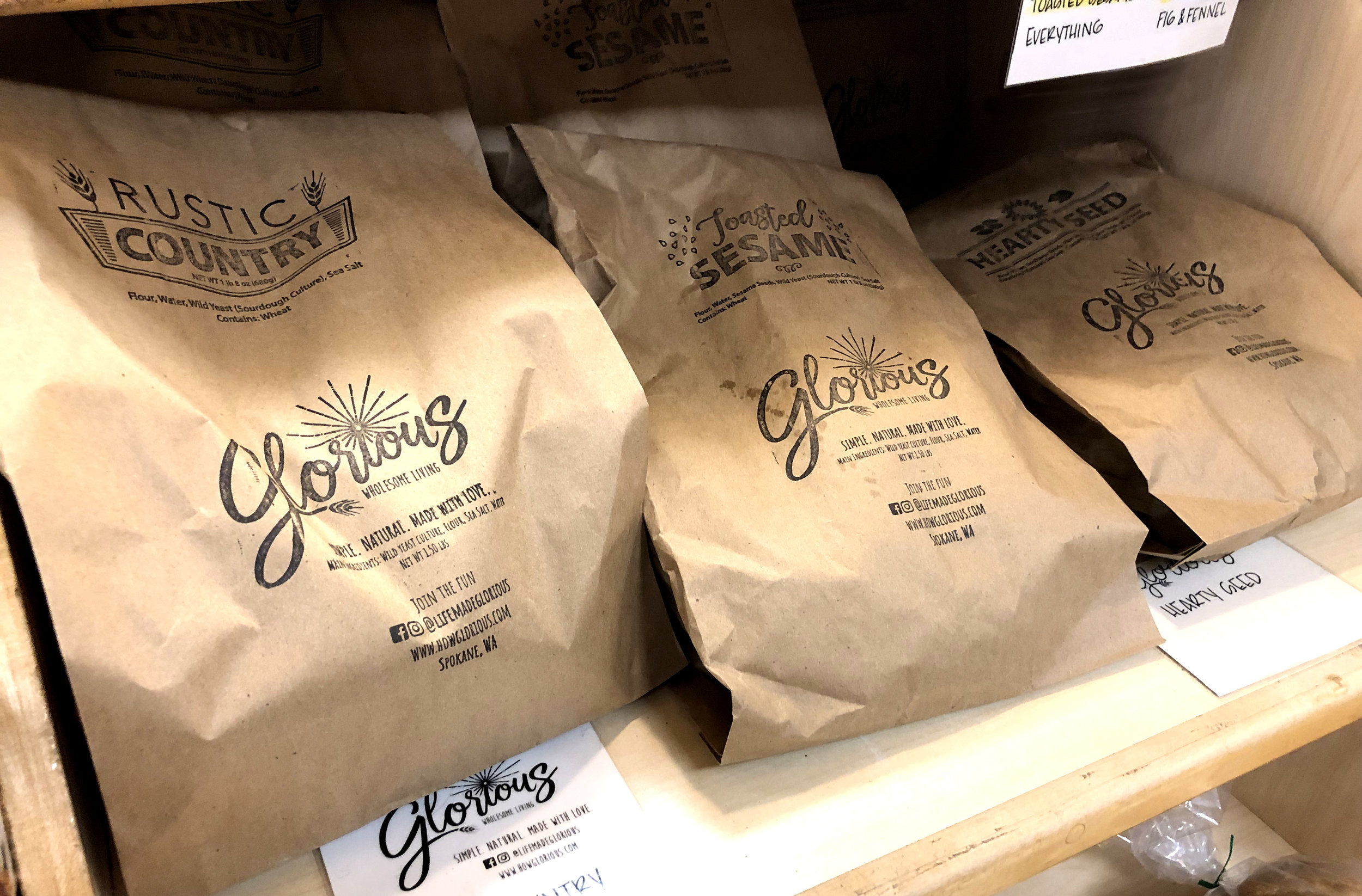 We package our loaves in natural wrappers that can be recycled. That's important to us.   We're proud to supply many of the top restaurants and coffee shops in town with their bread. We're grateful that these chefs and owners trust us to provide the best for their customers.