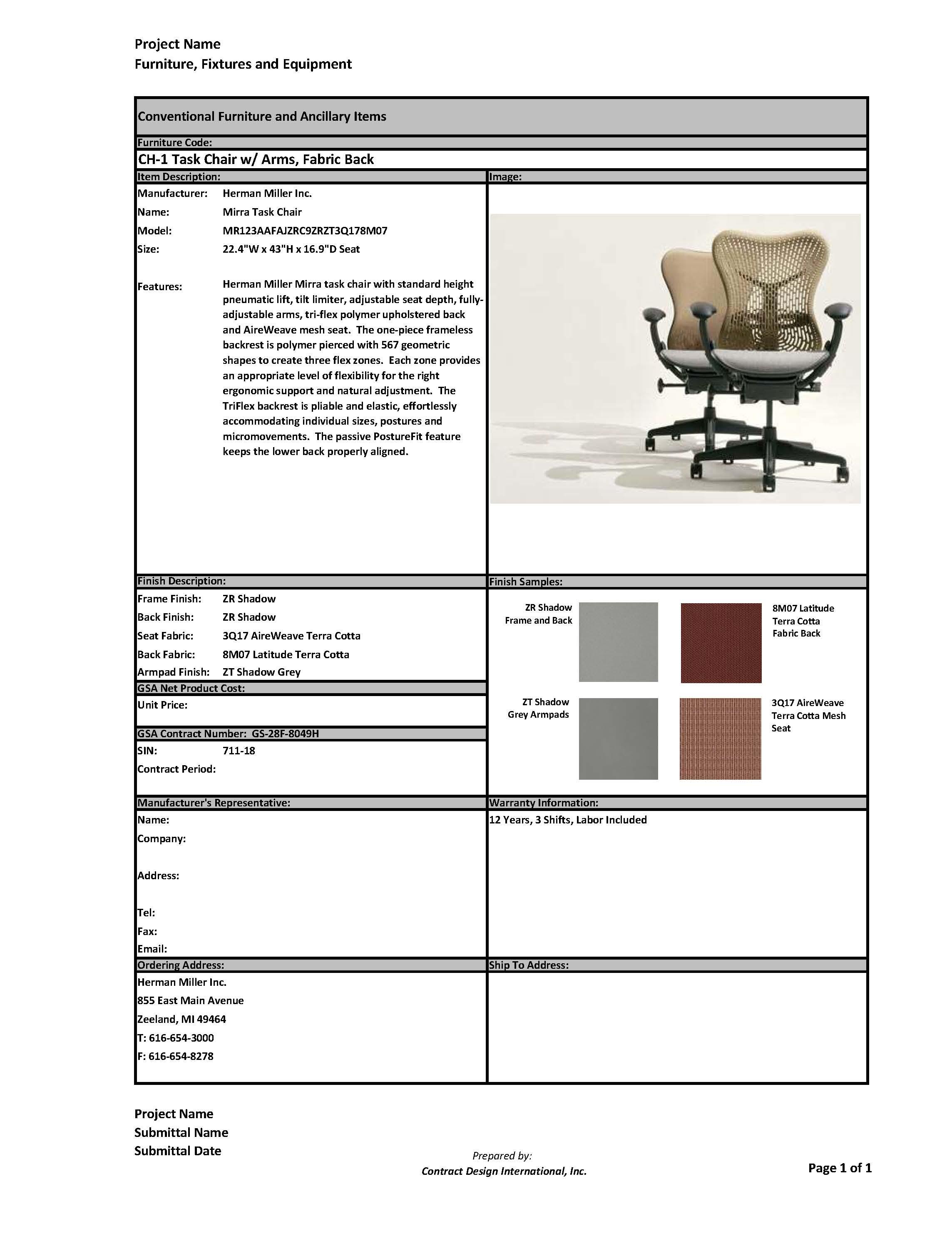 FF&E Cut Sheets