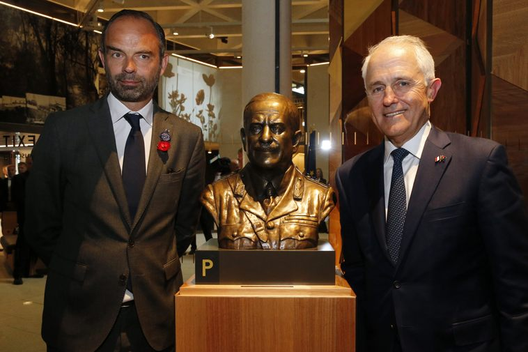 """French Prime Minister Edouard Philippe and former Australian Prime Minister Malcolm Turnbull opens """"Monash Museum"""" in France, 2018."""