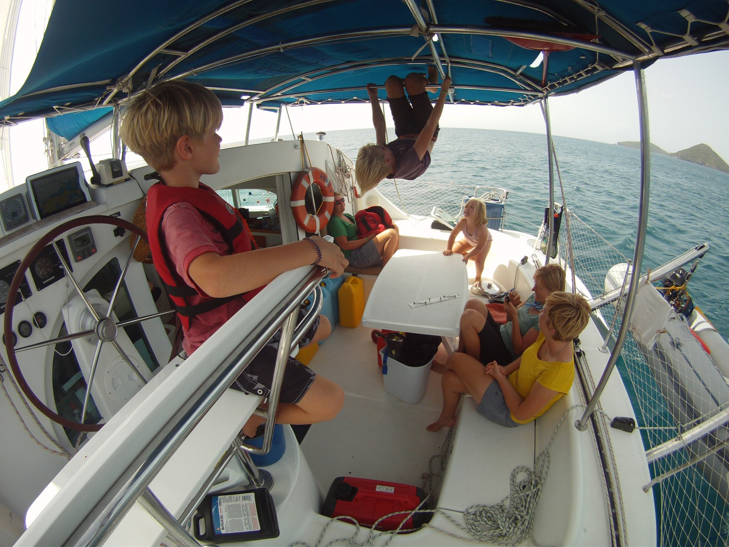 Our family aboard Fezywig in the British Virgin Islands.