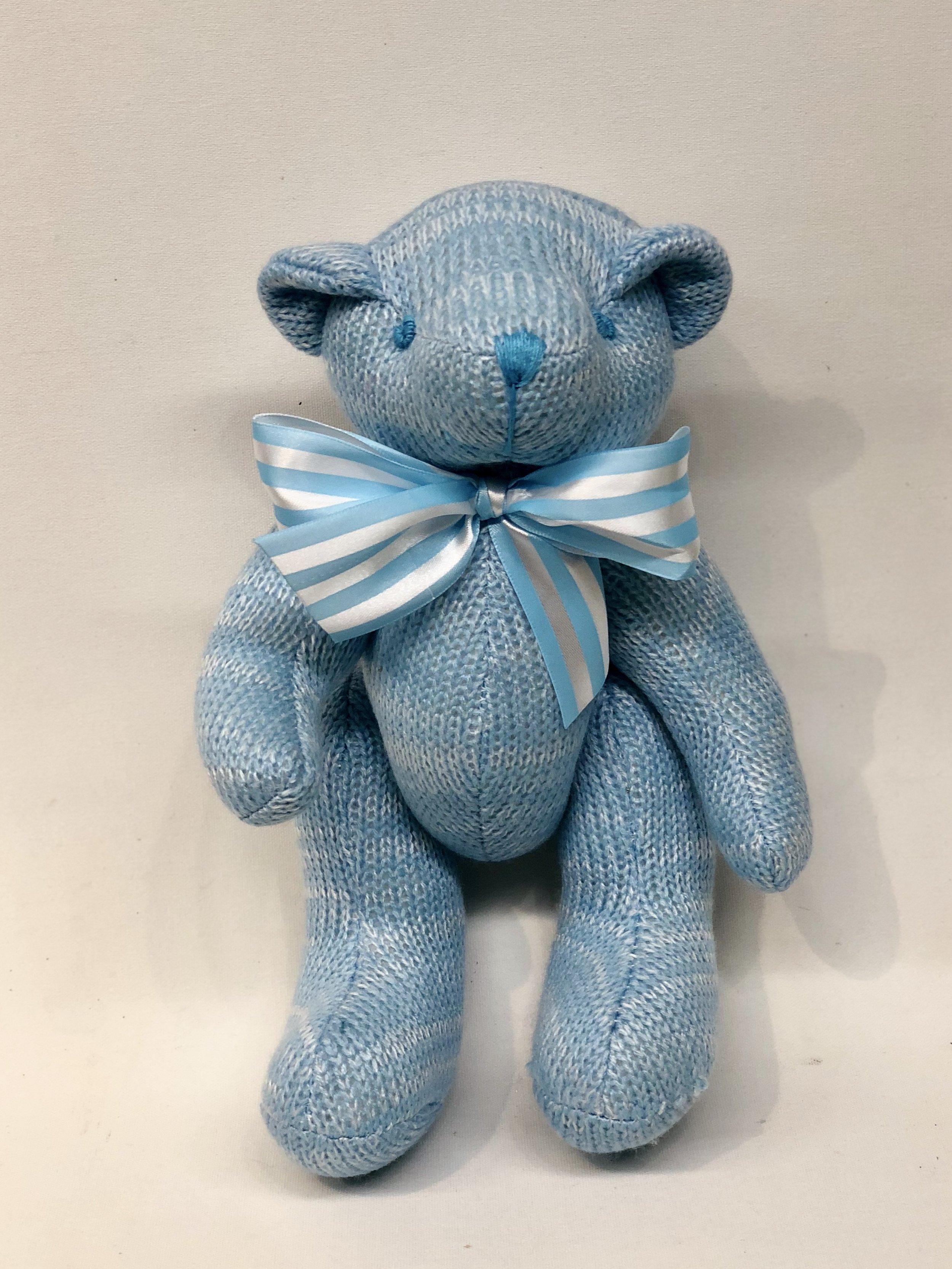 Blue Knitted Teddy Bear -