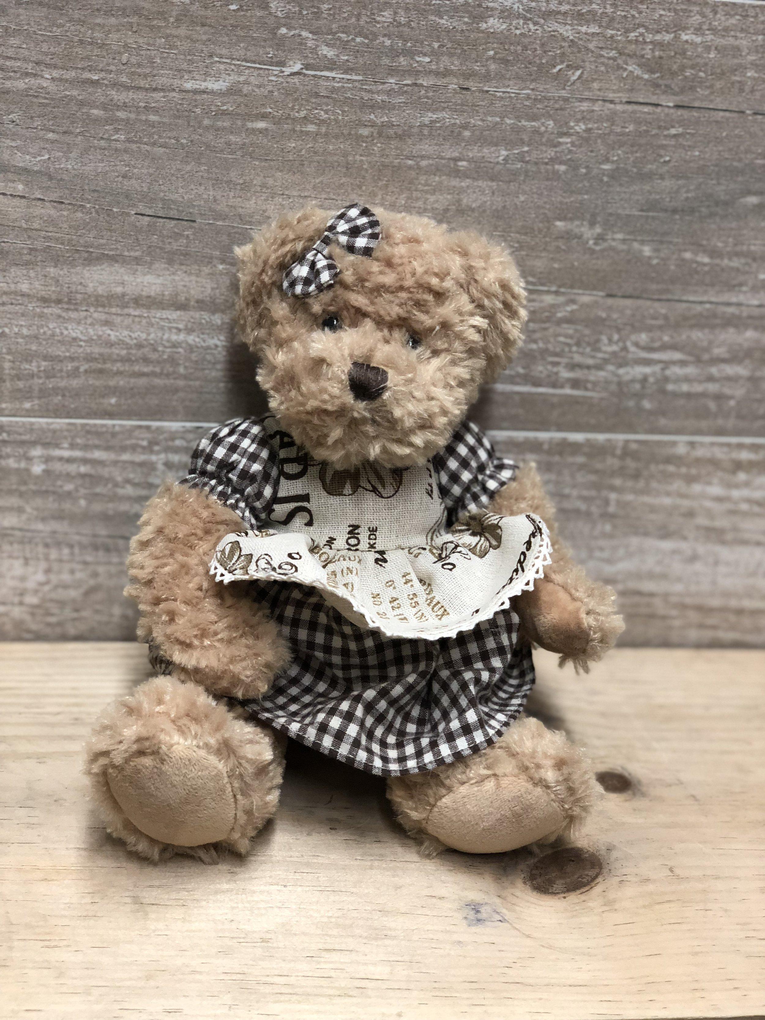 Gingham Dress Vintage Teddy Bear -