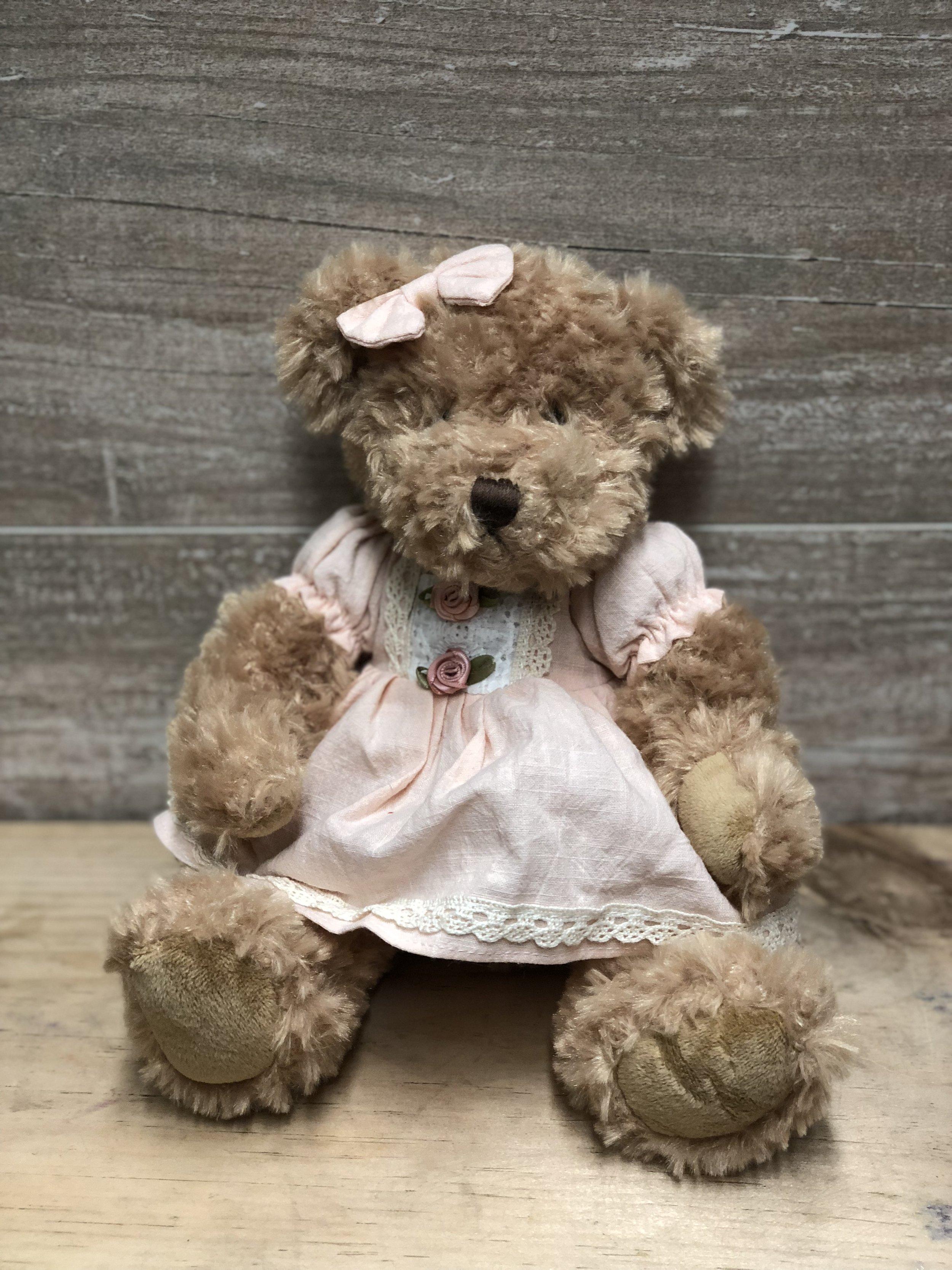 Pink Dress Vintage Teddy Bear -