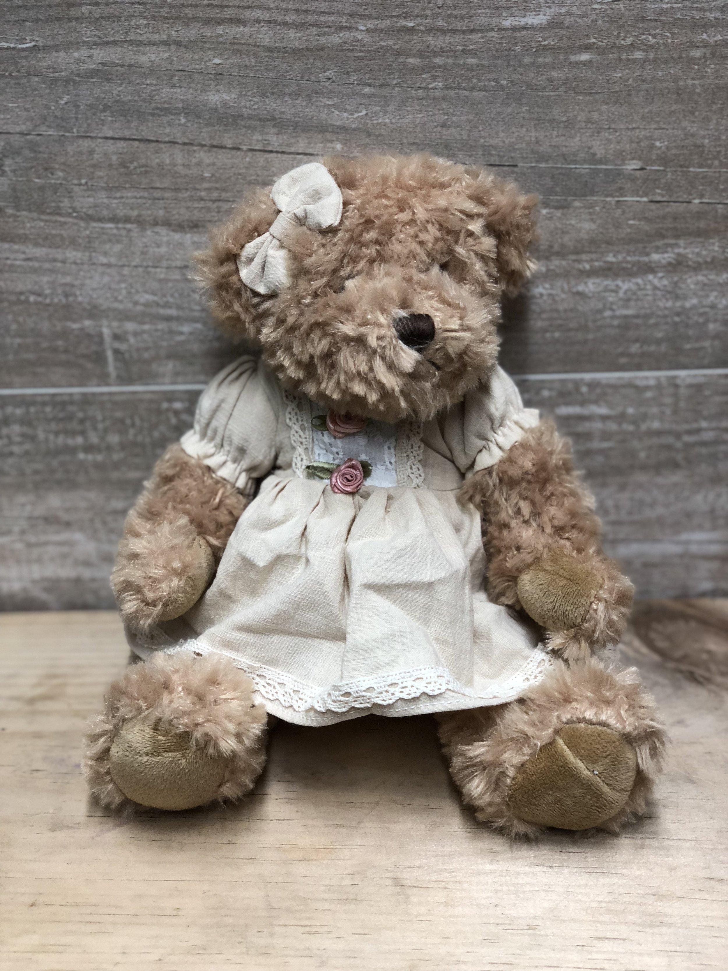 White Dress Vintage Teddy Bear -