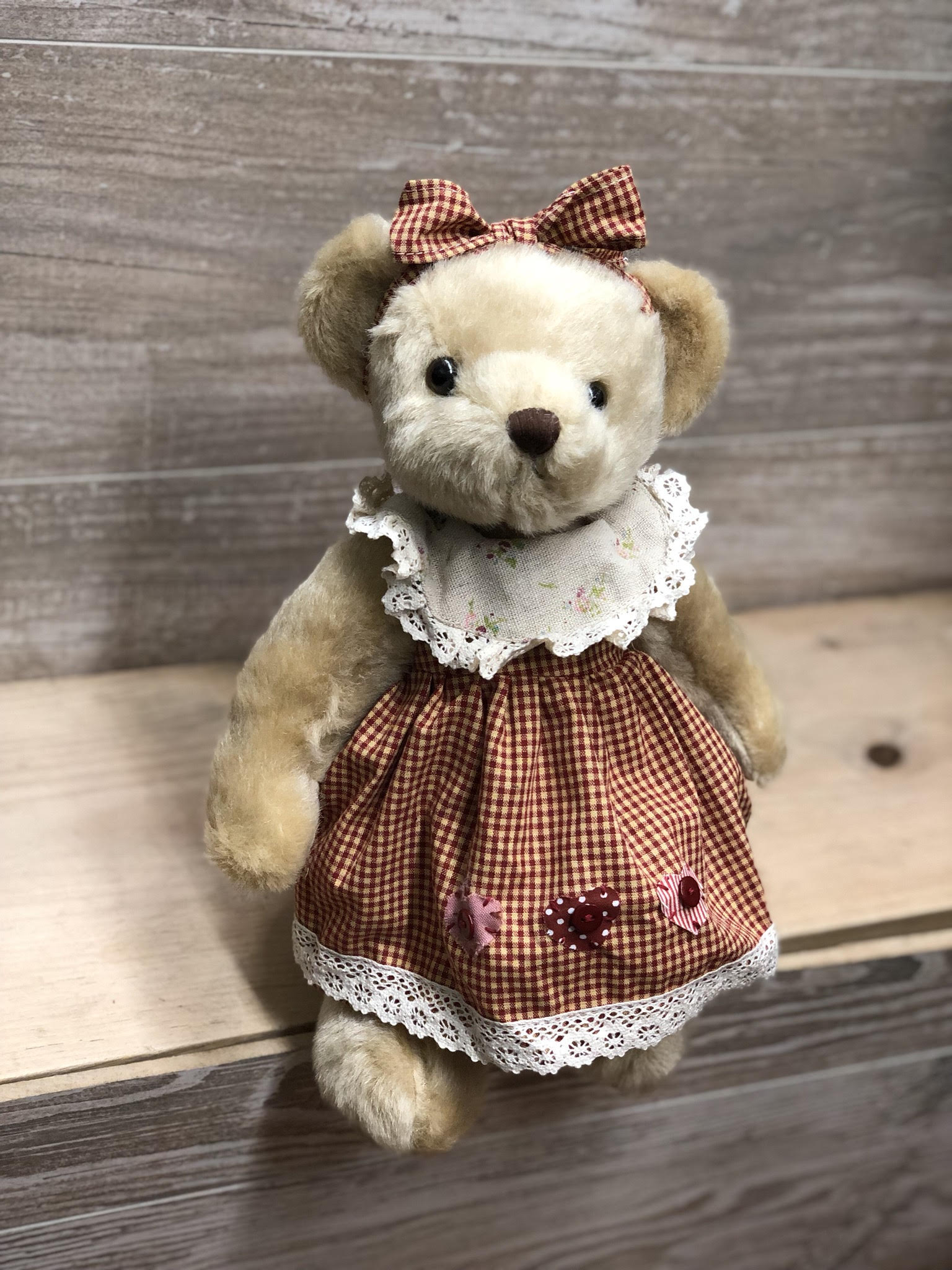 Red Gingham Dress Teddy Bear -