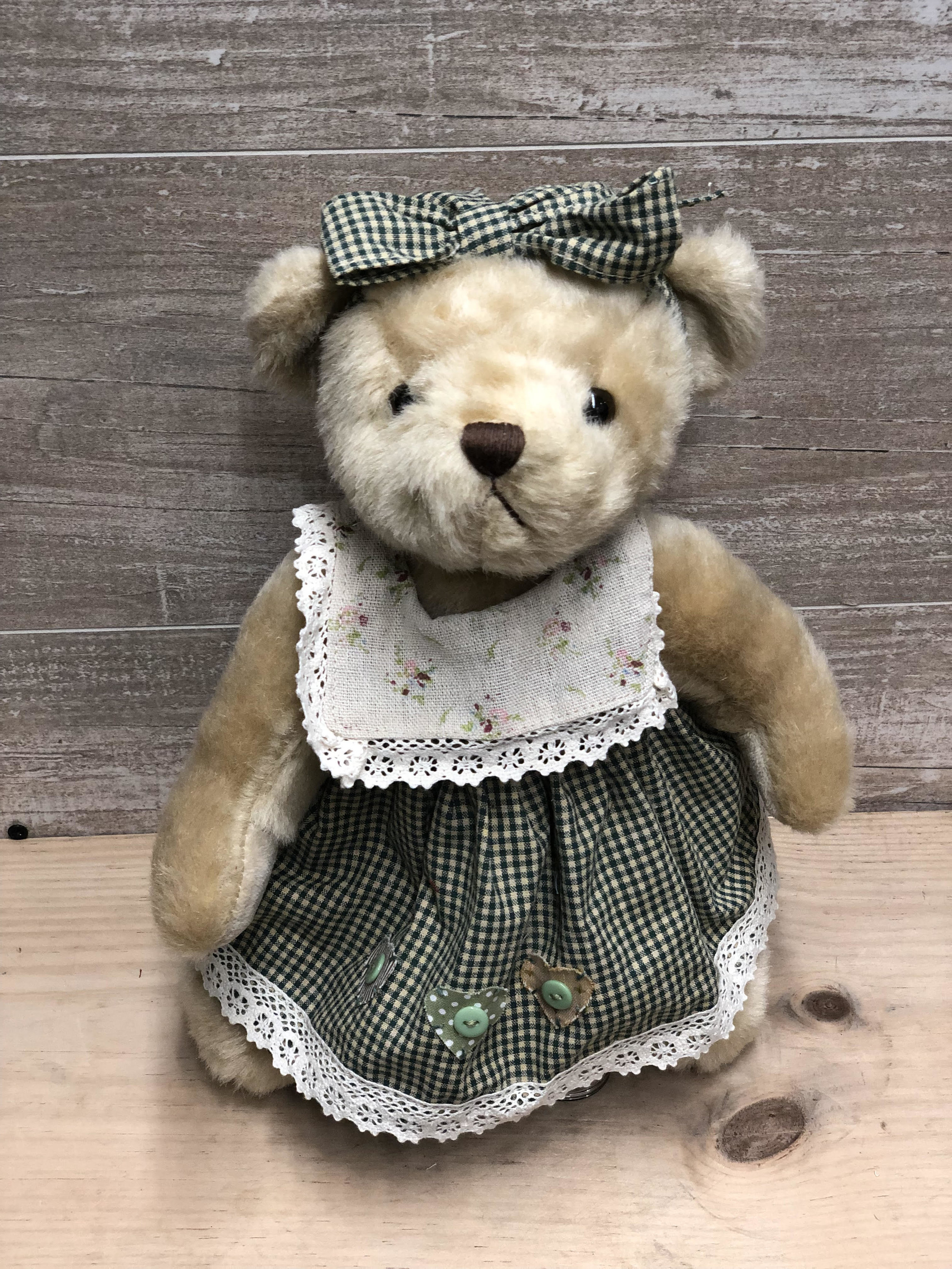 Green Gingham Dress Teddy Bear -