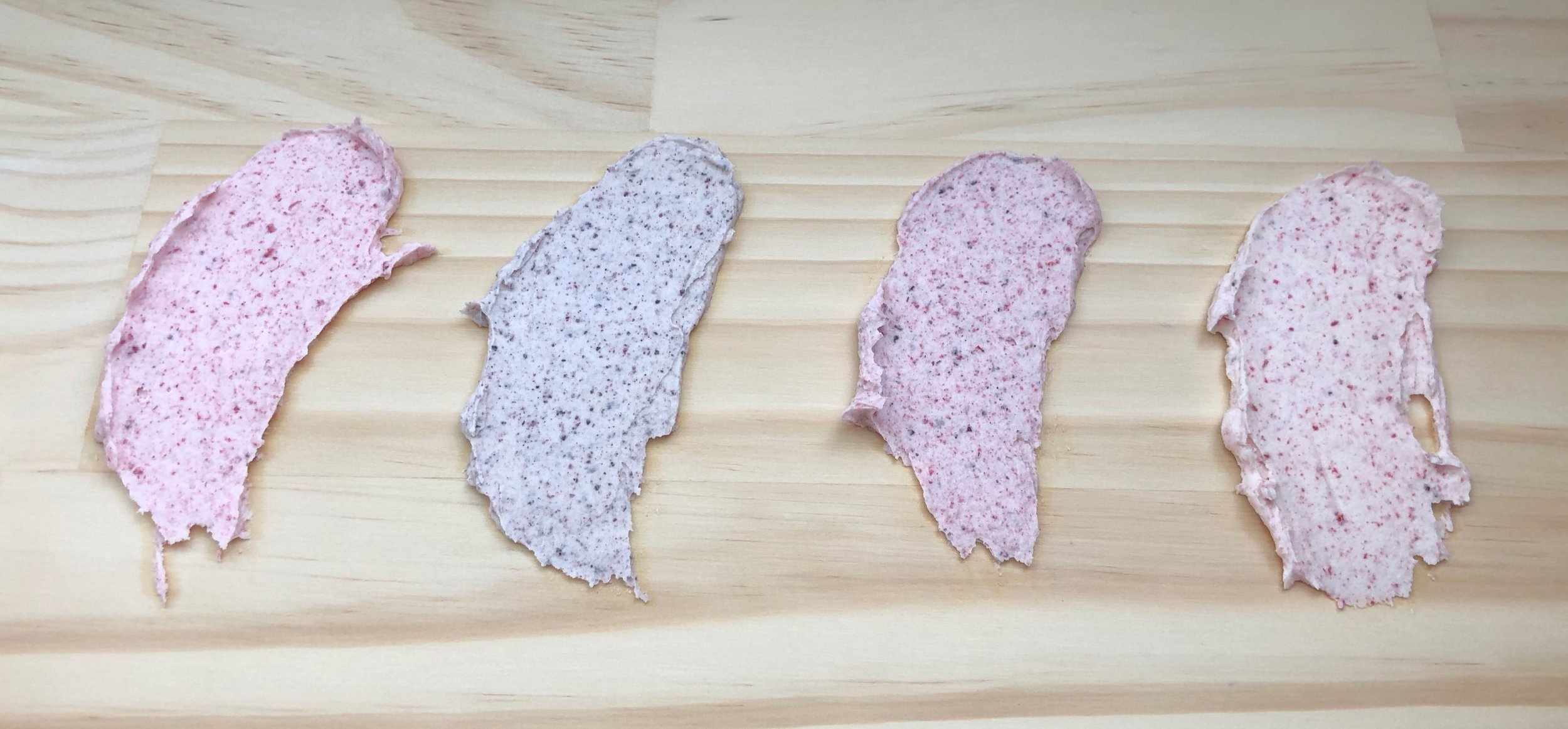 Berry Fresh in Buttercream! L-R: Strawberry, Blueberry, Mixed Berry, and Raspberry. 1 Tablespoon of Basic Buttercream to 1 Teaspoon of Berry Fresh.