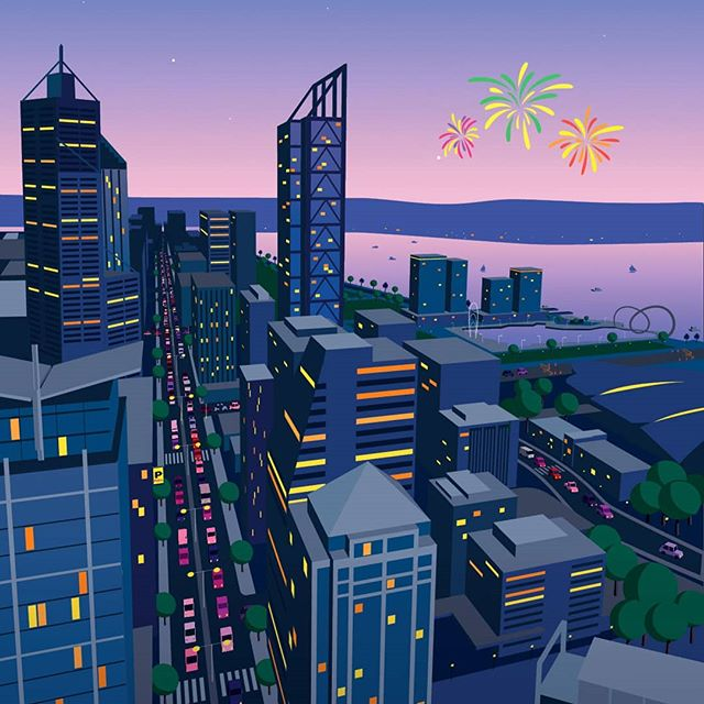 Perth City skyline Illinois created for a Skyworks Poster and animation campaign for Gatecrasher advertising. #perth #transperth #gatecrasher #advertising #illustration #cityofperth #vector #illustrator #adobe #citylights