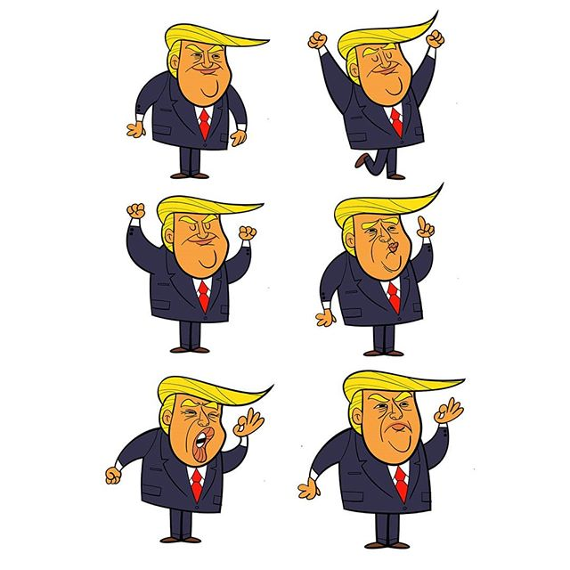 Trumps..... fuck this guy. Cartoonists dream though. These were created in harmony for a little animation music video thing a while back #trump #wanker #potus #cartoon #animation #toonboom #harmony #illustration