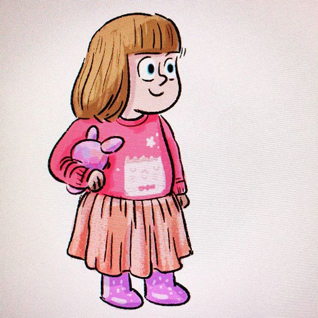 My little Indie pop in her favourite gear... Dressed 'all by myself' usually includes 3 seperate dresses at the same time coupled with a jumper and unicorn gumboots!  #illustration #cartoon #kids #style