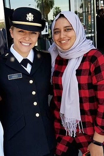 My sweet friend, Hind at my commissioning ceremony. She was my teacher in Morocco and then came to the US for a short time.