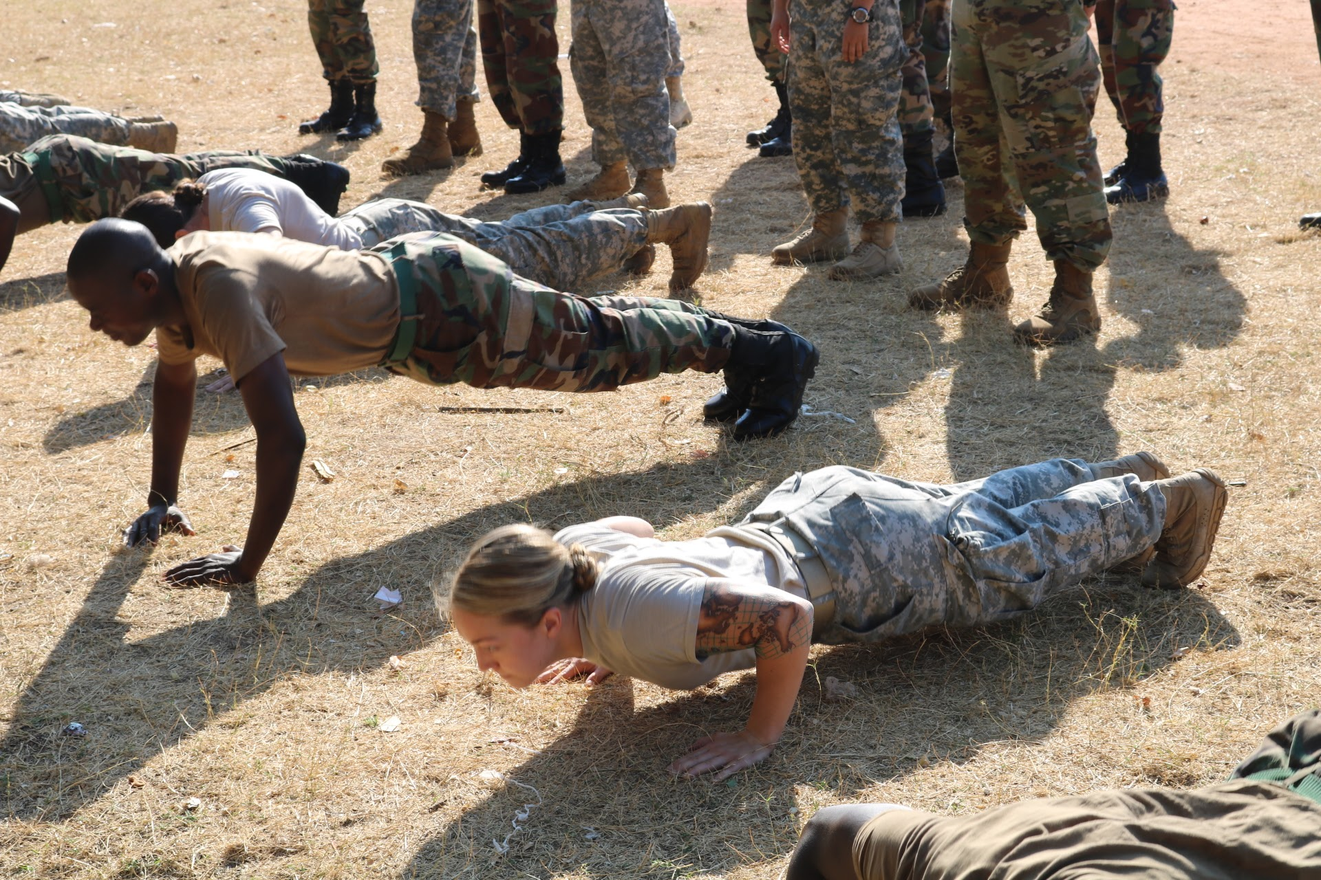 Jamee training in Malawi with the Malawi Defense Force Officer Cadets.