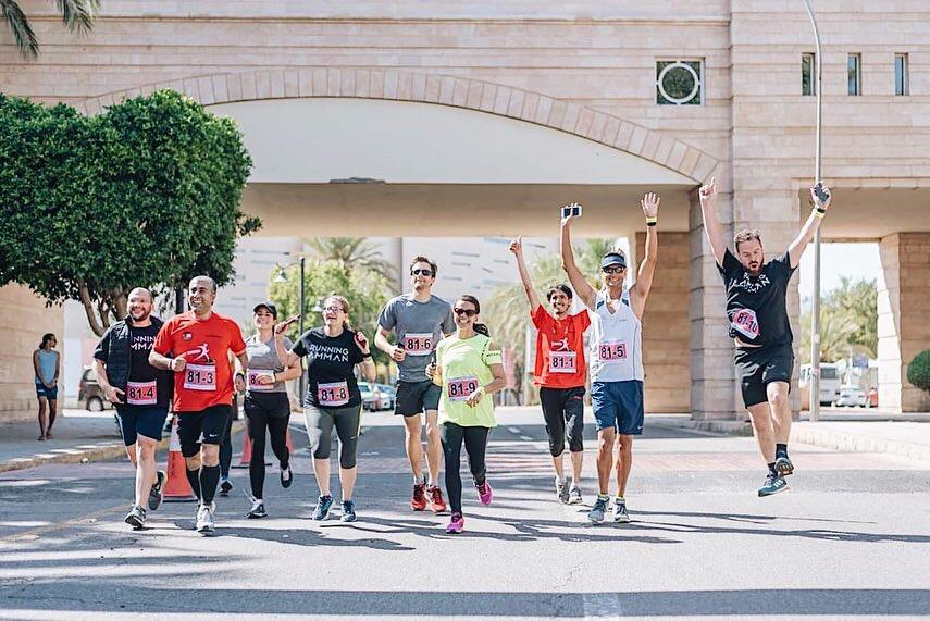 Kendall running in the Dead2Red race which covers a distance of 242km from the shores of the Dead Sea to Aqaba City on the Red Sea.