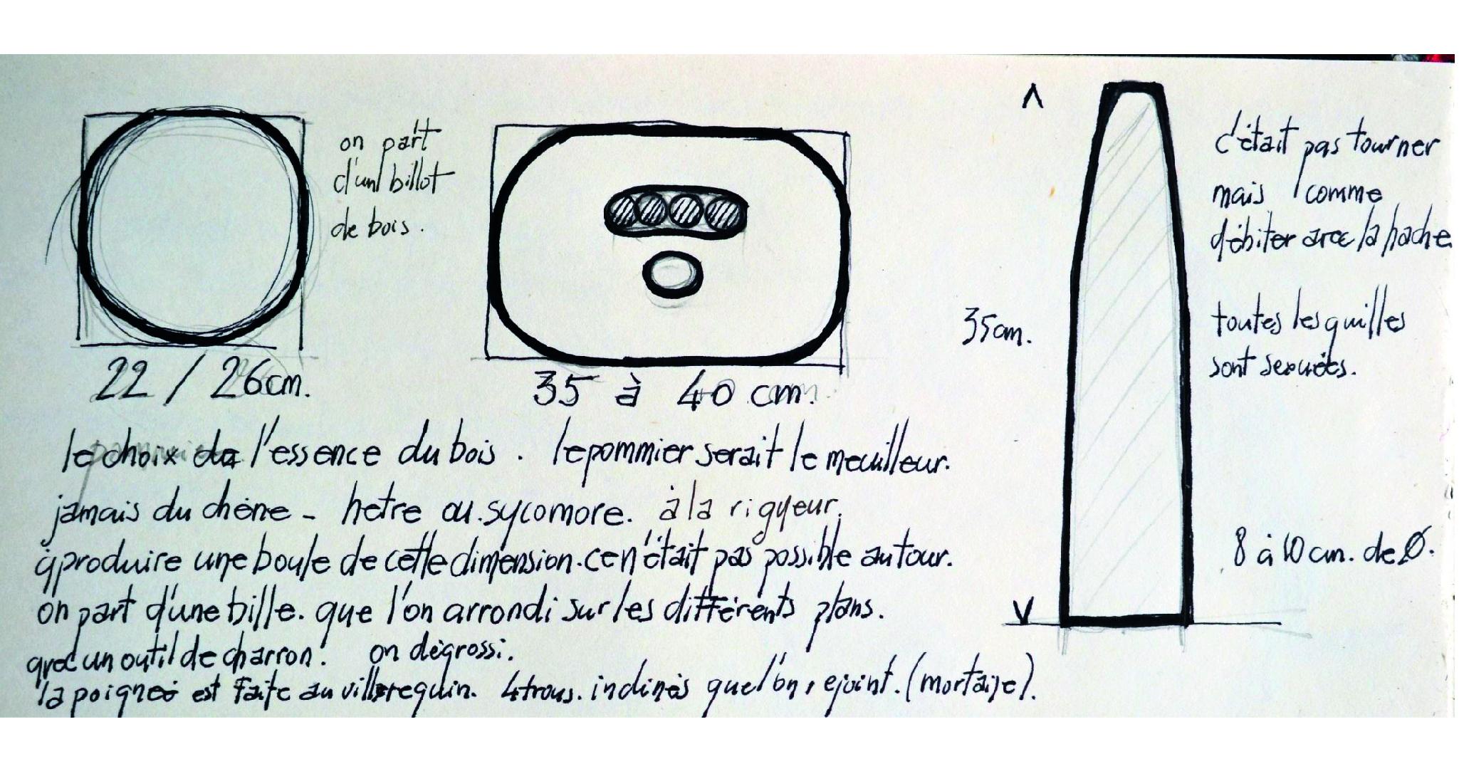 Croquis Boule diamètre de 30cm et quille de 50cm basé sur les descriptions des anciens joueurs — illustration M.Thépaut