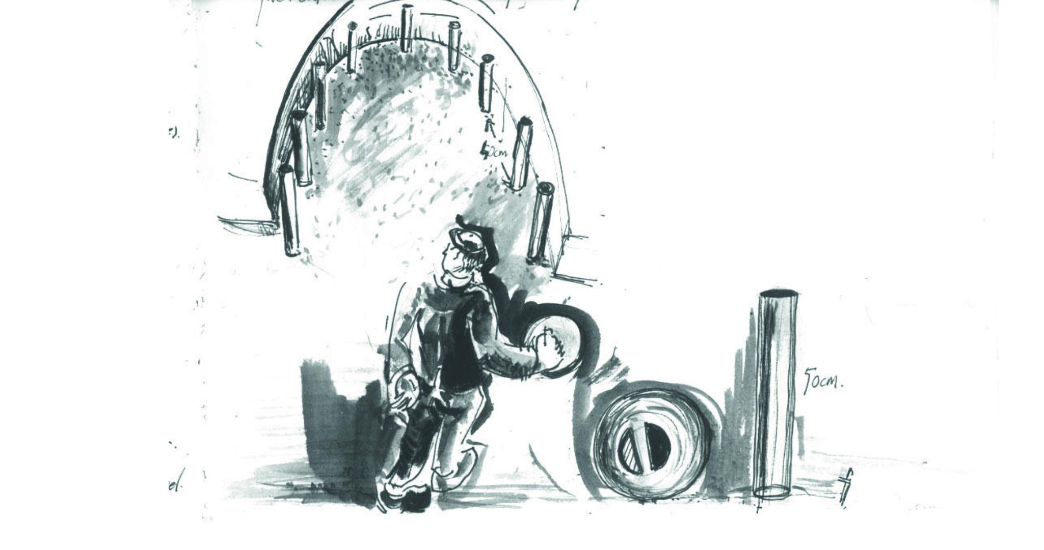 À la suite d'un premier témoignage de Visant Abiven: essai de visualisation du jeu et de la trajectoire — illustration M. Thépaut