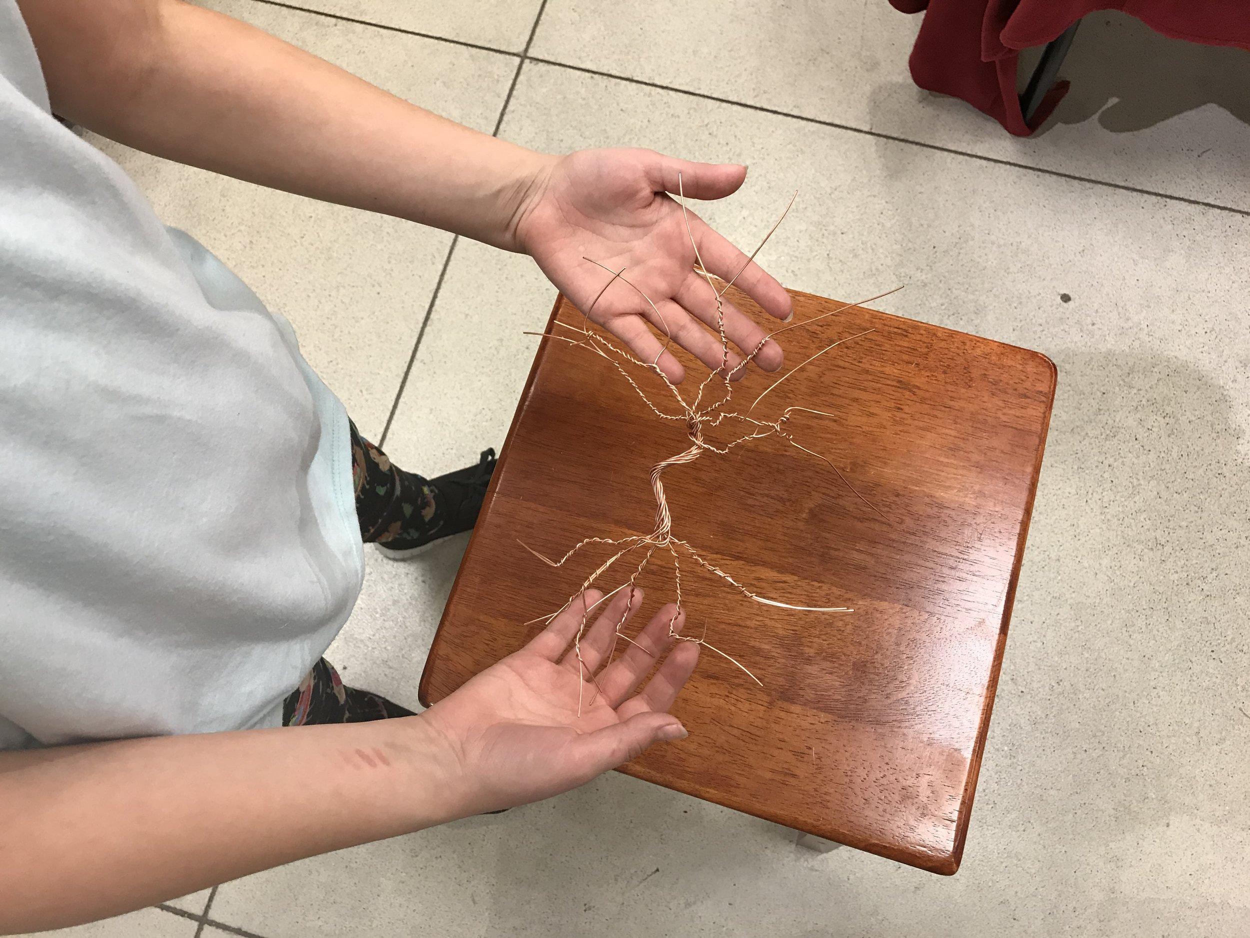 Copper wire art demonstration Jordon Creek Mall Show Patricia Tiffany Morris
