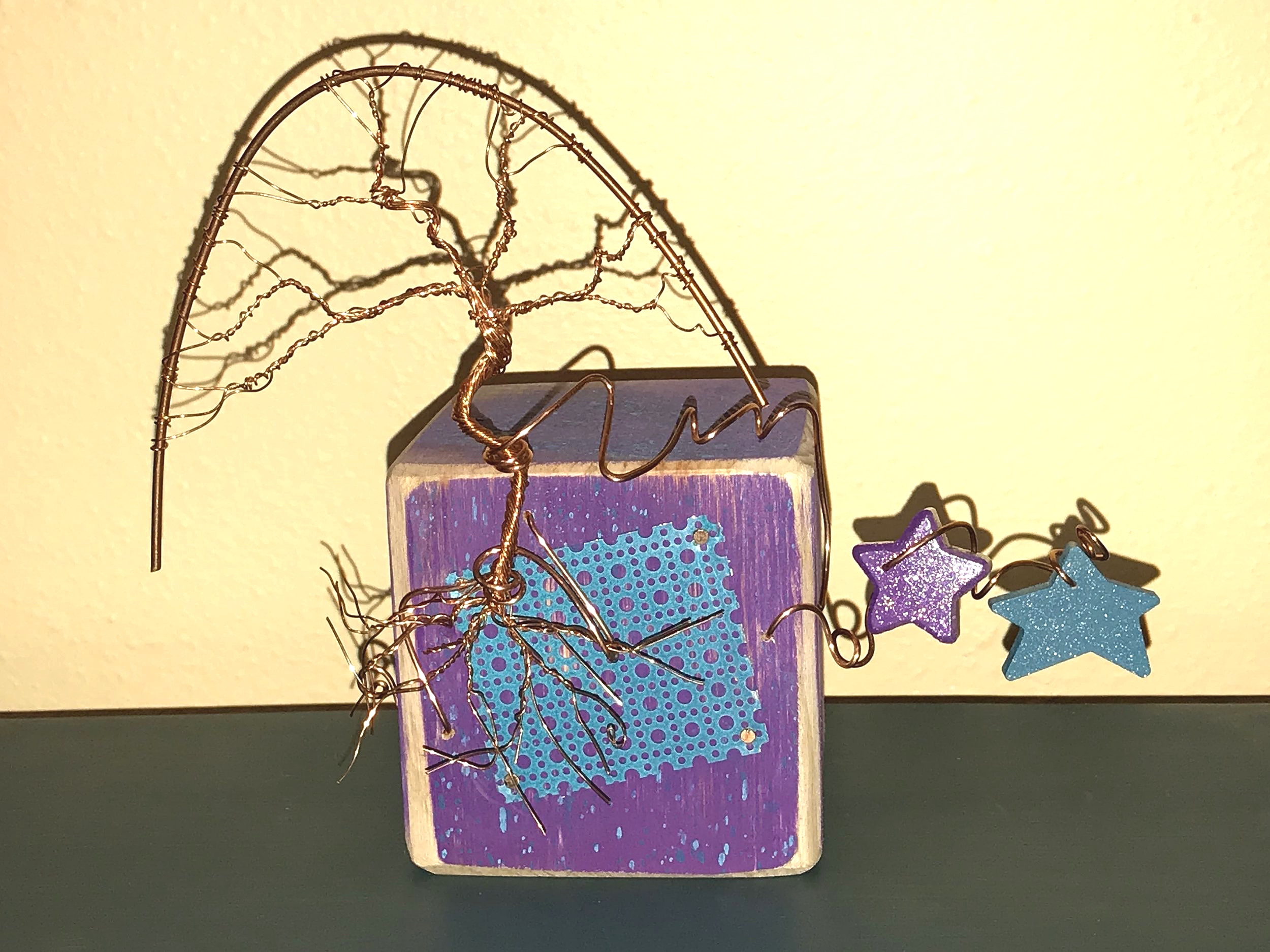 tree block copper wire wood painted Patricia Tiffany Morris